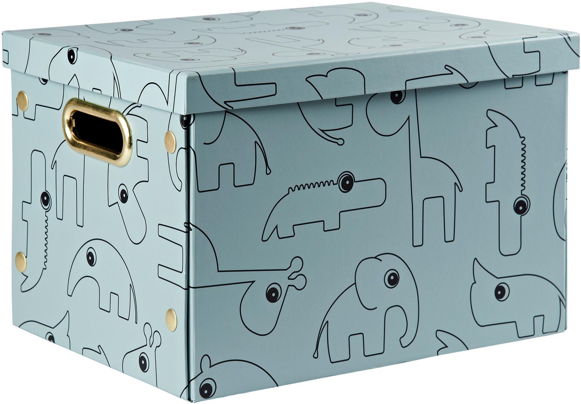 Aufbewahrungsbox Contour, Karton, laminiert, Blau, 25 x 34 cm