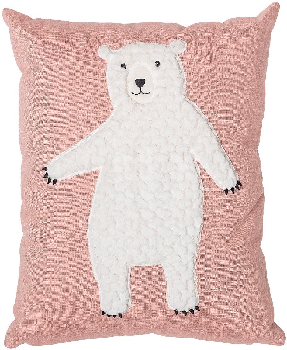 Cuscino imbottito con orso Bear, Rivestimento: 70%cotone, 30%poliester, Rosa, bianco, Larg. 40 x Lung. 50 cm