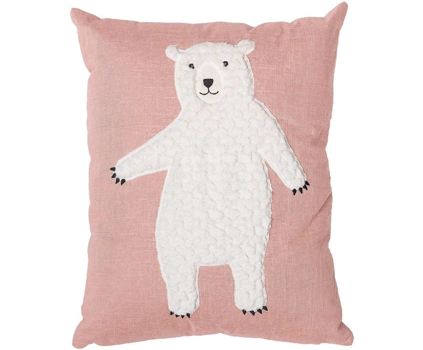 Kissen Bear, mit Inlett, Bezug: 70% Baumwolle, 30% Polyes, Rosa, Weiss, 40 x 50 cm