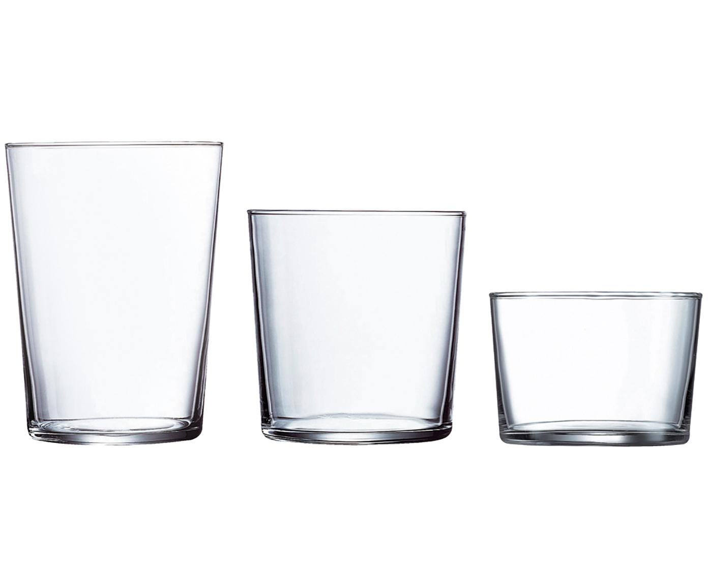 Set de vasos Juego, 18 pzas., vidrio de sílice, Transparente, Tamaños diferentes