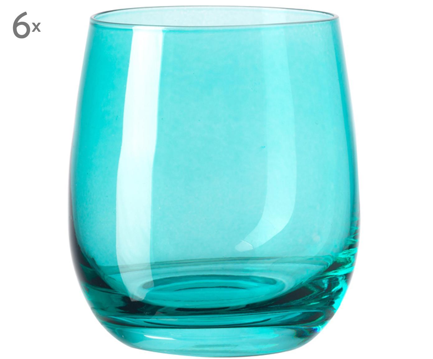 Wassergläser Sora, 6 Stück, Glas, Türkis, Ø 8 x H 10 cm