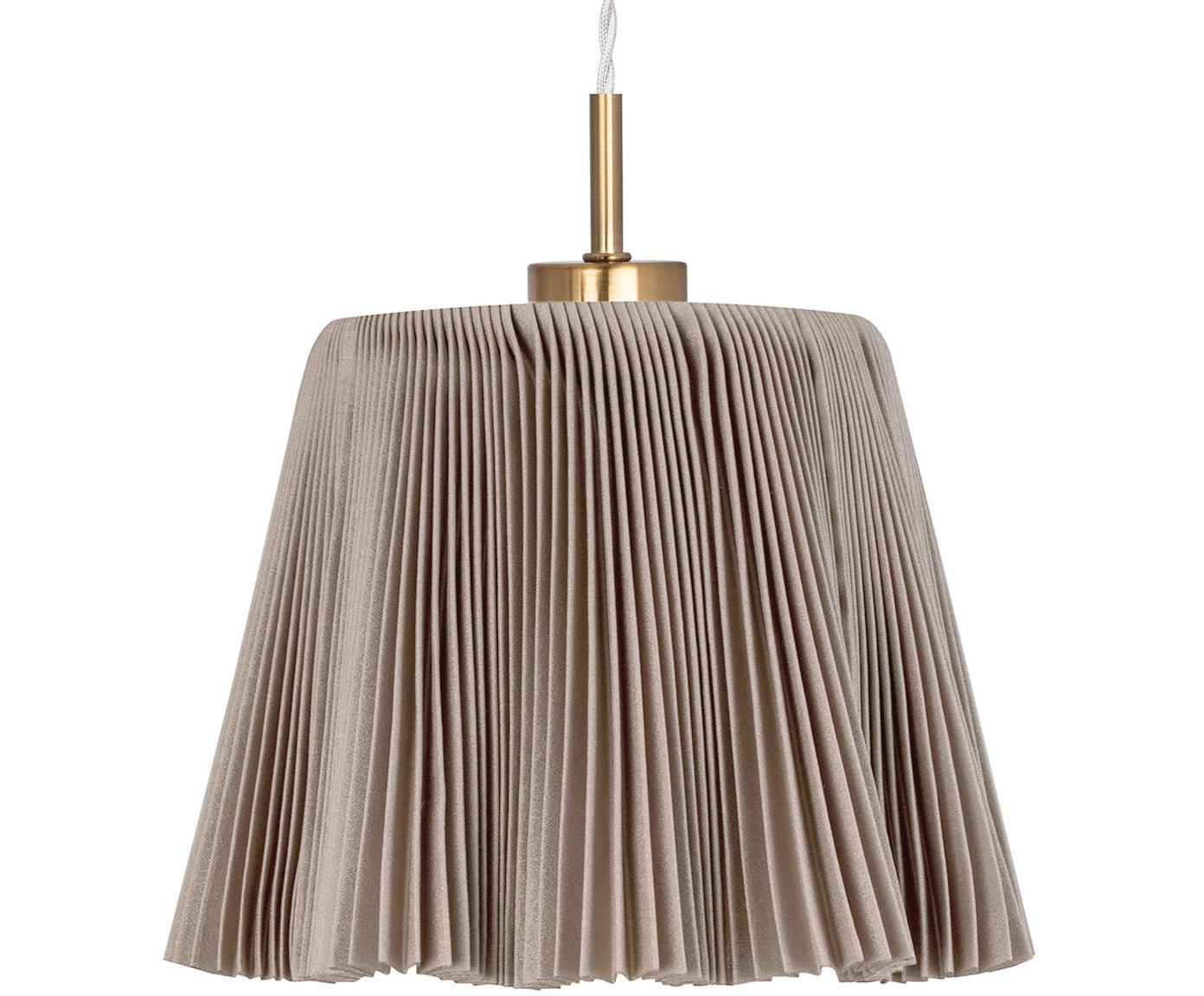 Pendelleuchte Edith aus Faltenstoff, Lampenschirm: Baumwolle, Baldachin: Metall, beschichtet, Braun, Messingfarben, Ø 20 x H 25 cm
