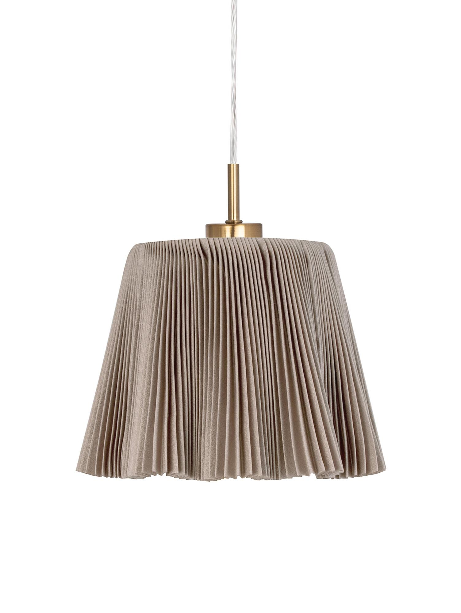 Lampada a sospensione Edith, Cotone, metallo, Marrone, ottonato, Ø 20 x Alt. 25 cm