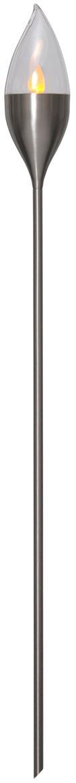 Lámpara de pie solar LED para exteriores Olympos, Pantalla: plástico, Estructura: acero inoxidable, Acero, transparente, Ø 9 x Al 115 cm