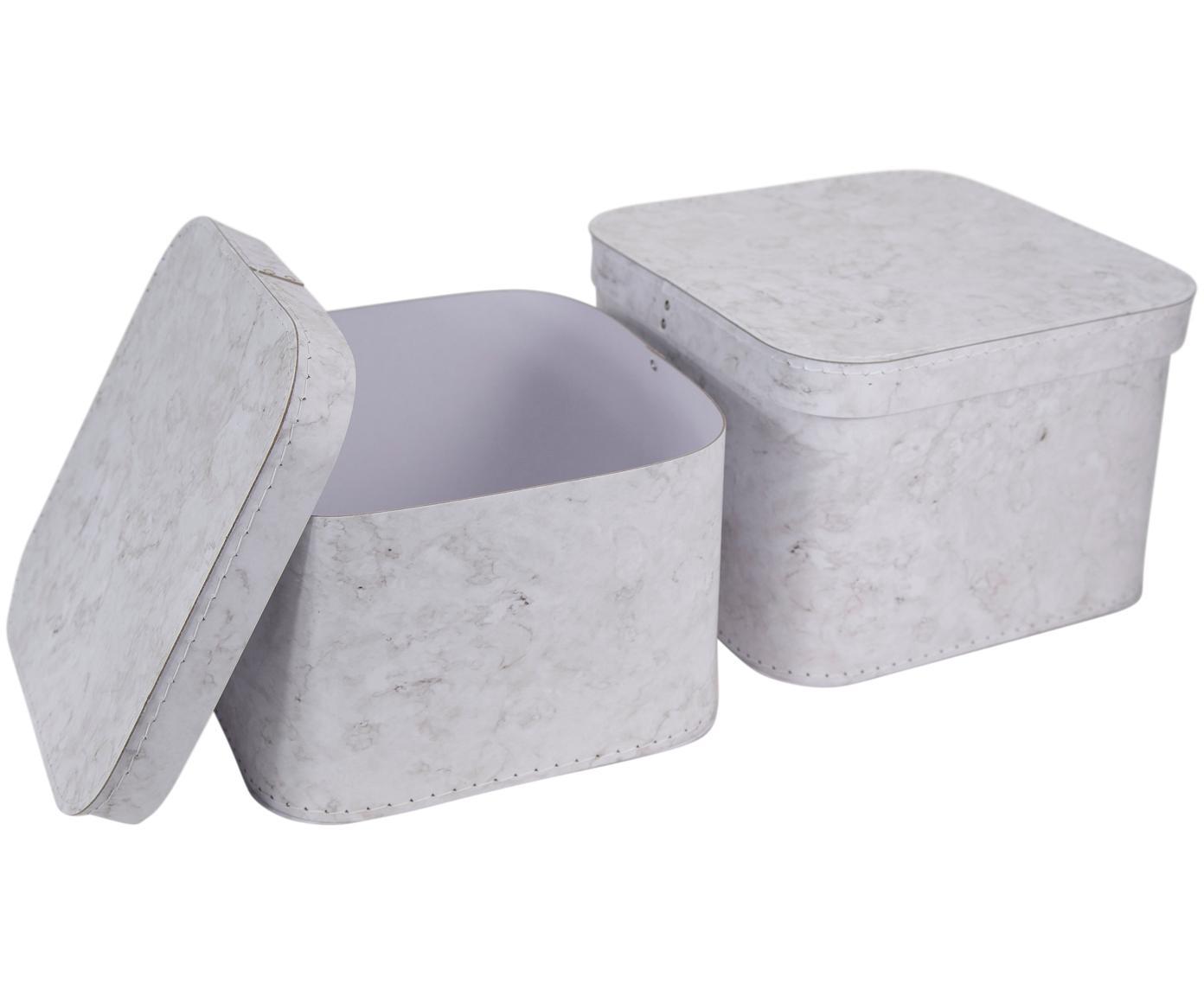 Aufbewahrungsboxen-Set Ludvig, 2-tlg., Fester, laminierter Karton, Weiß, marmoriert, Sondergrößen