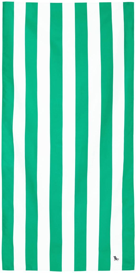 Toalla de playa de microfibras Cabana, Microfibra (80%poliéster, 20%poliamida), Verde, blanco, An 90 x L 200 cm