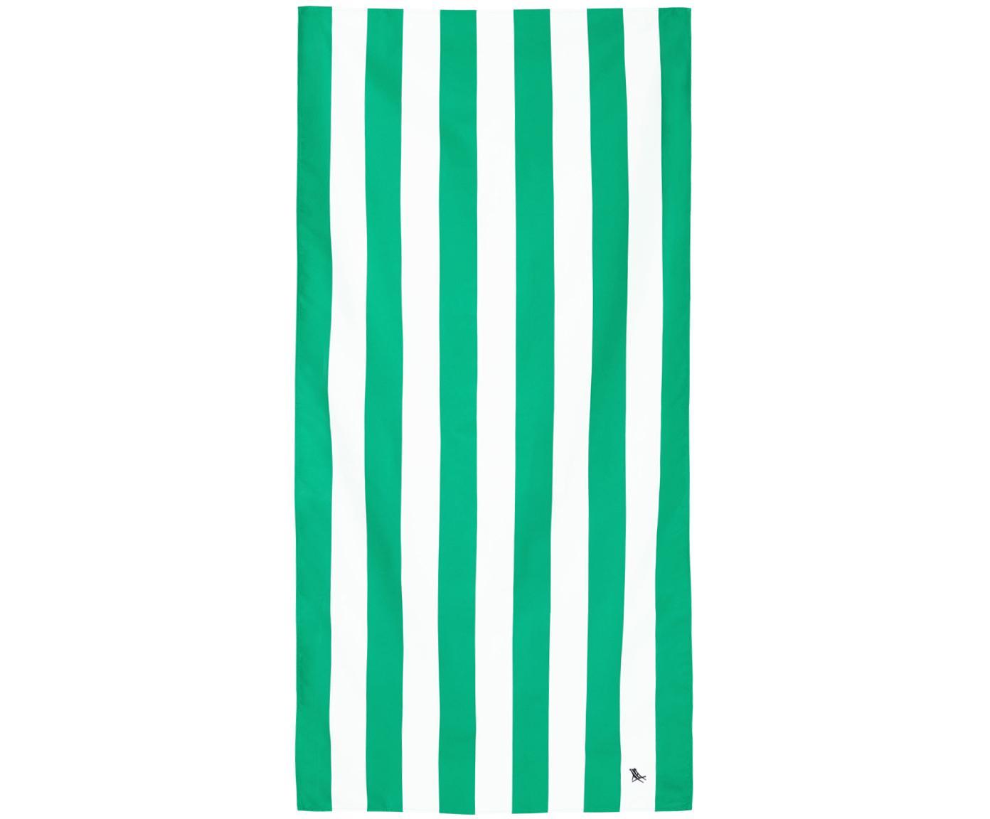 Szybkoschnący ręcznik plażowy z mikrofibry Cabana, Mikrofibra (80% poliester, 20% poliamid), Zielony, biały, S 90 x D 200 cm