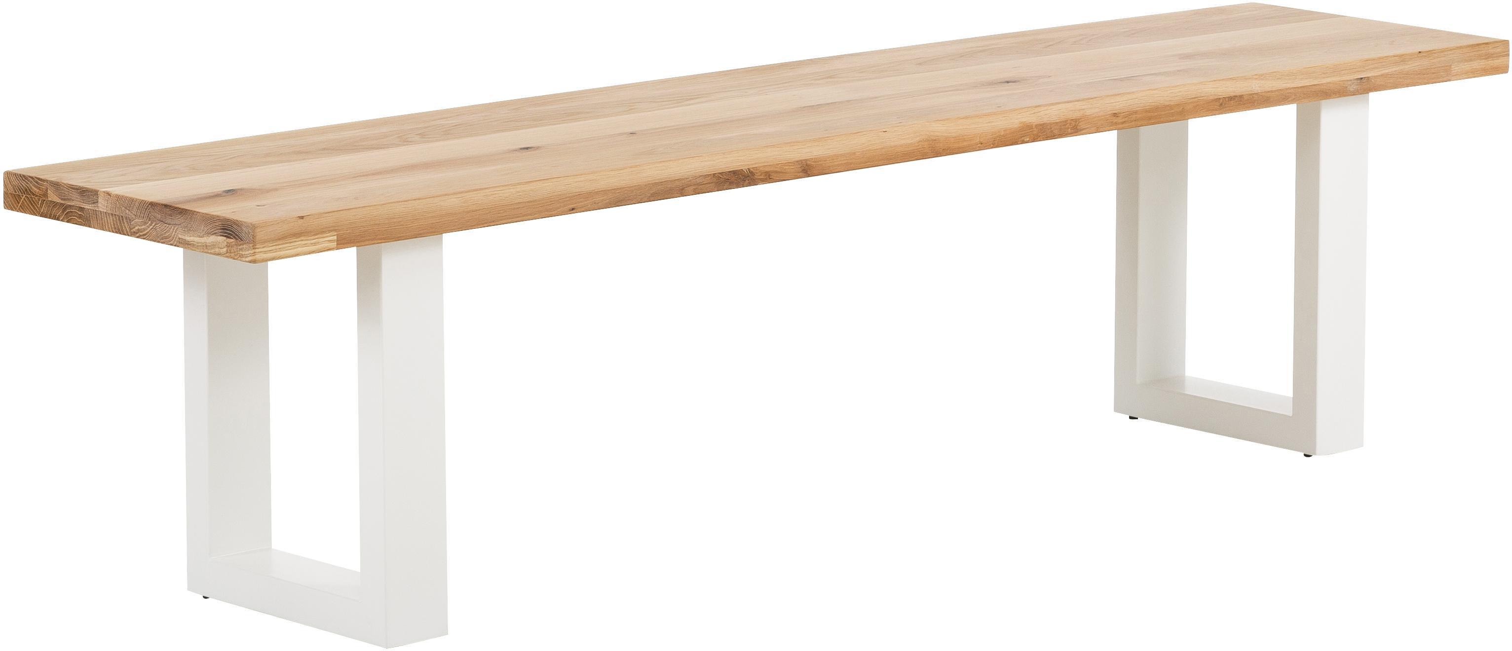 Banco de madera maciza Oliver, Asiento: madera de roble silvestre, Patas: acero mate lacado, Roble, blanco, An 180 x Al 45 cm