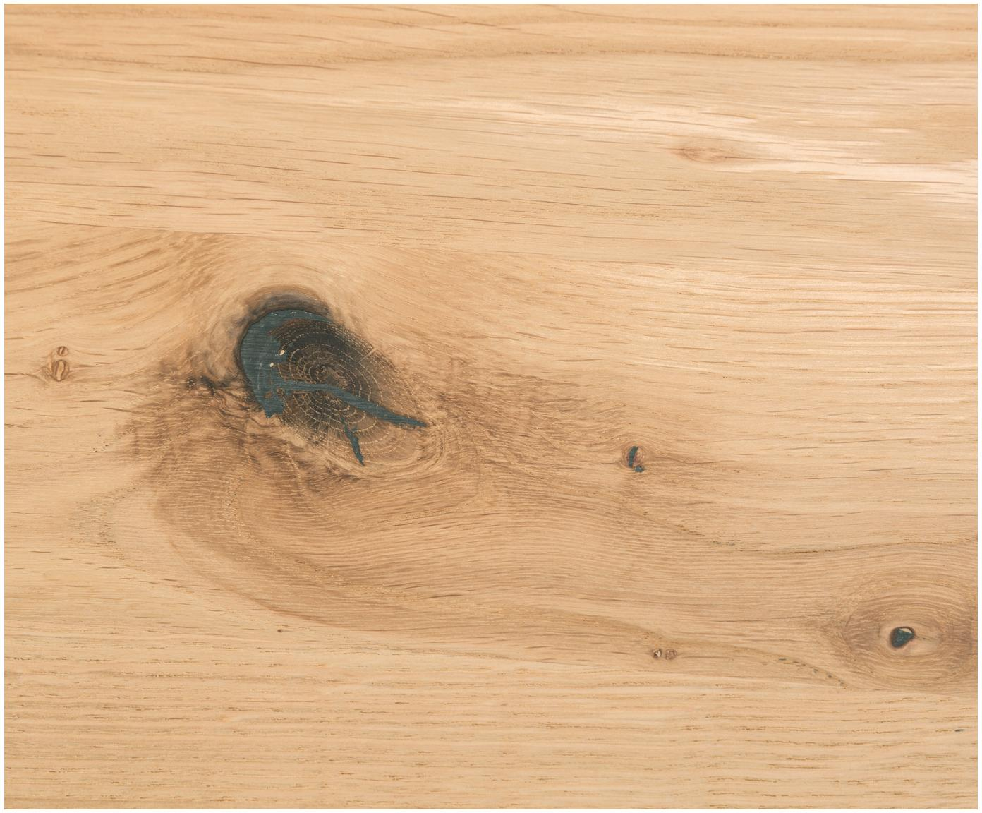 Bank Oliver, Zitvlak: geolied massief Europees , Poten: mat gelakt staal, Zitvlak: eikenhoutkleurig. Poten: wit, 180 x 45 cm