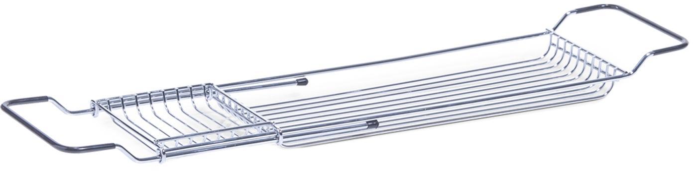 Badewannenablage Silver, verstellbar, Metall, verchromt, Silberfarben, Schwarz, 66 x 4 cm
