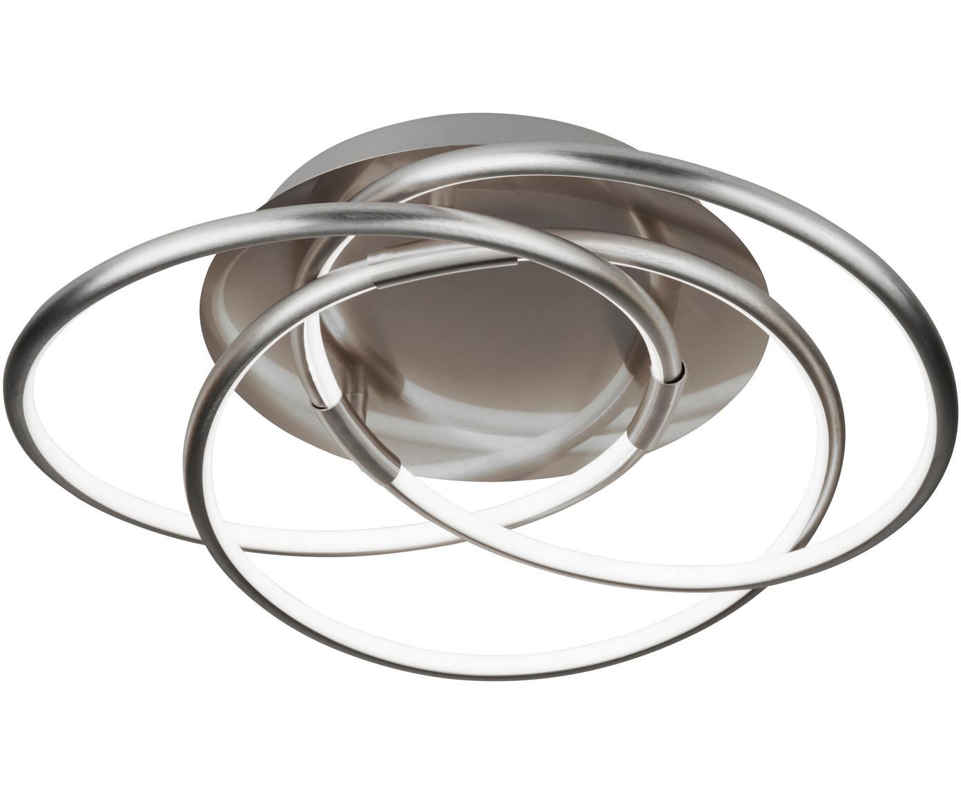 LED plafondlamp Magic, Geborsteld aluminium, Aluminium, Ø 48 x H 22 cm