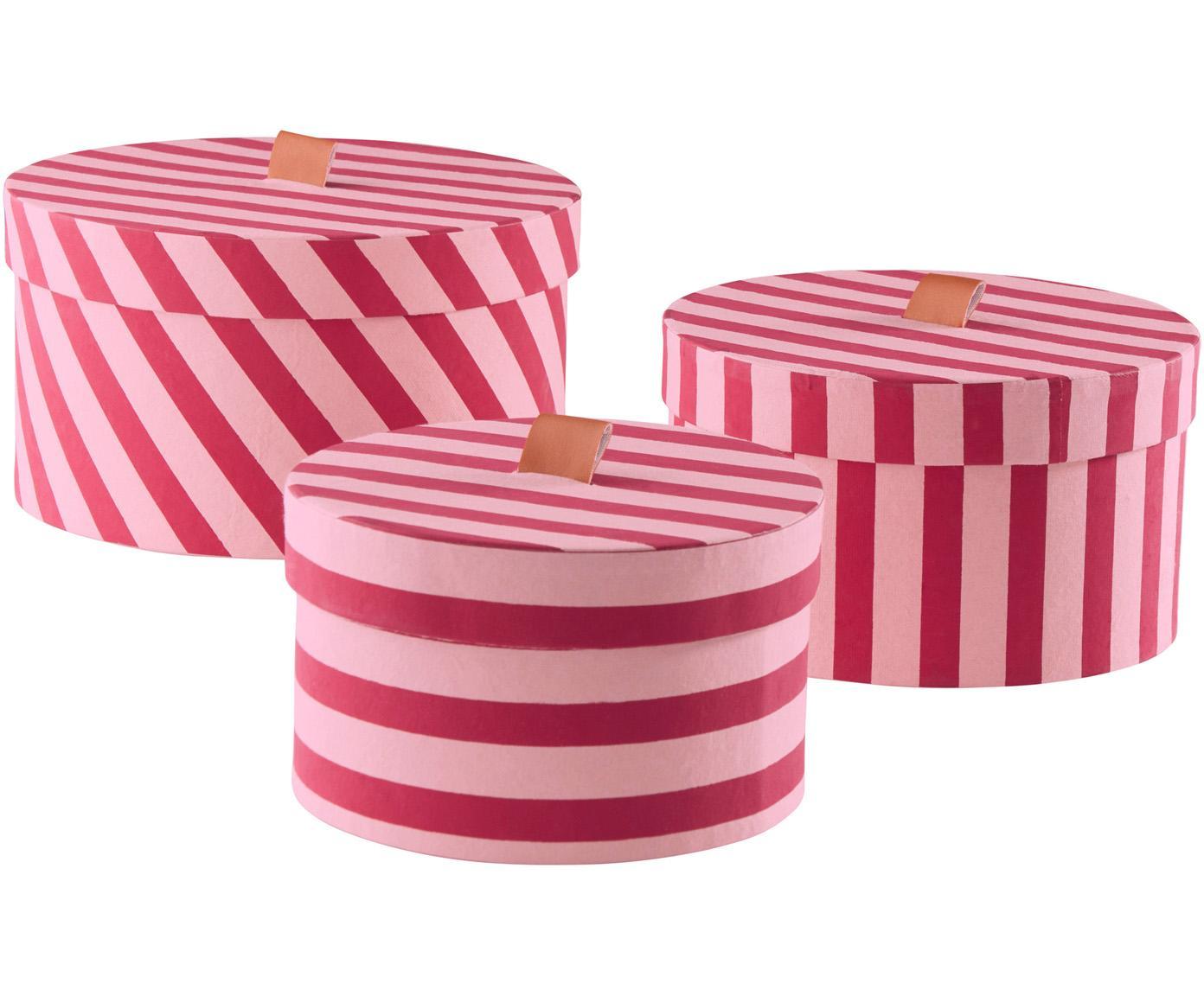 Komplet pudełek do przechowywania, 3 elem., Tektura, Różowy, Różne rozmiary