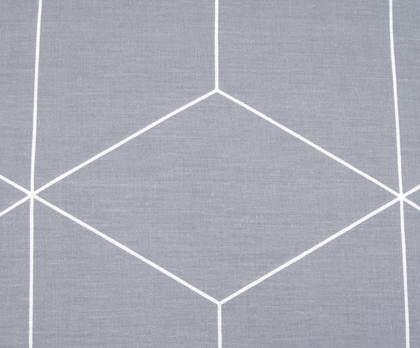 Pościel z bawełny renforcé Lynn, Szary, kremowobiały, 135 x 200 cm + 1 poduszka 80 x 80 cm