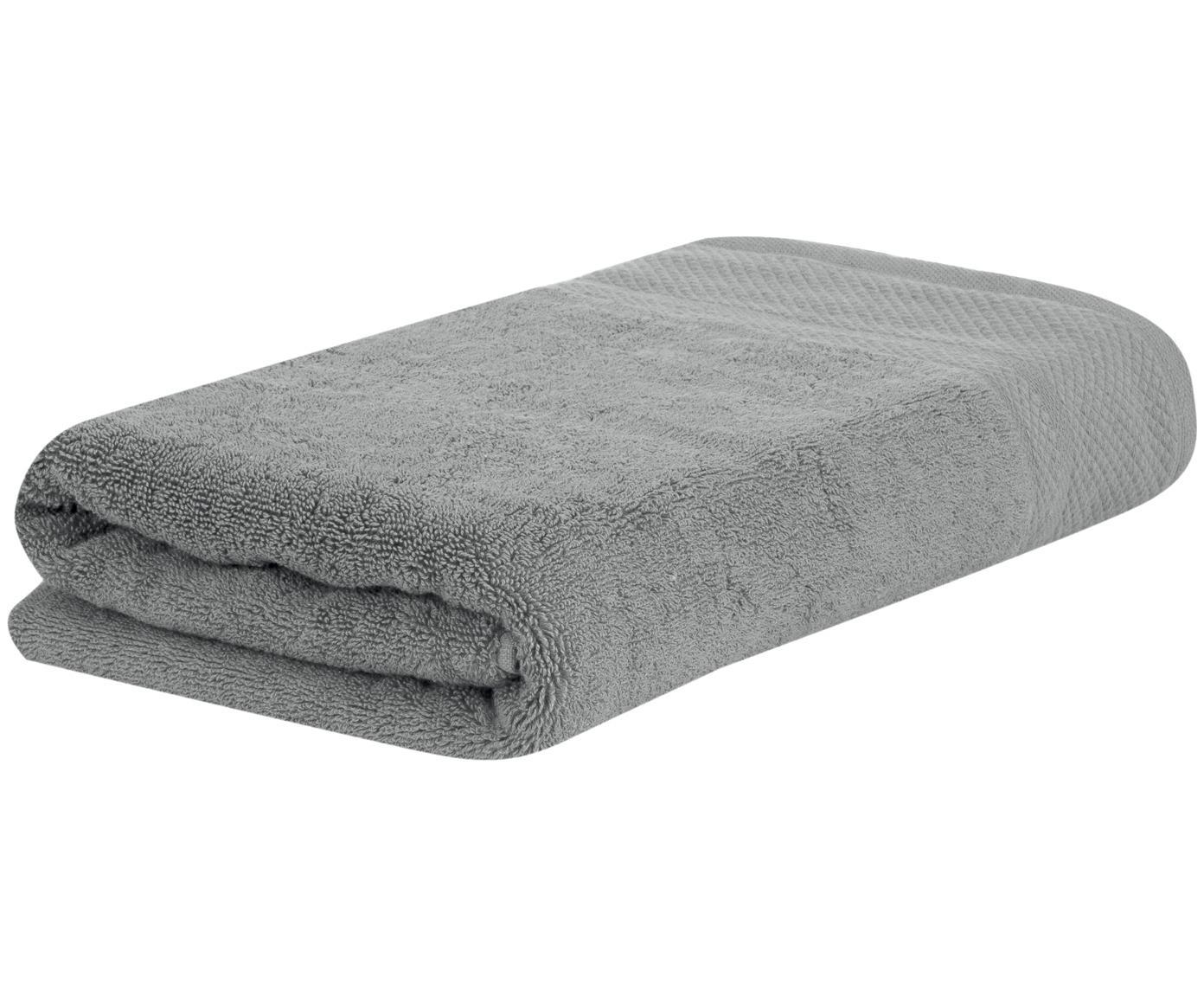 Toalla con cenefa clásica Premium, 100%algodón Gramaje superior 600g/m², Gris oscuro, Toallas tocador