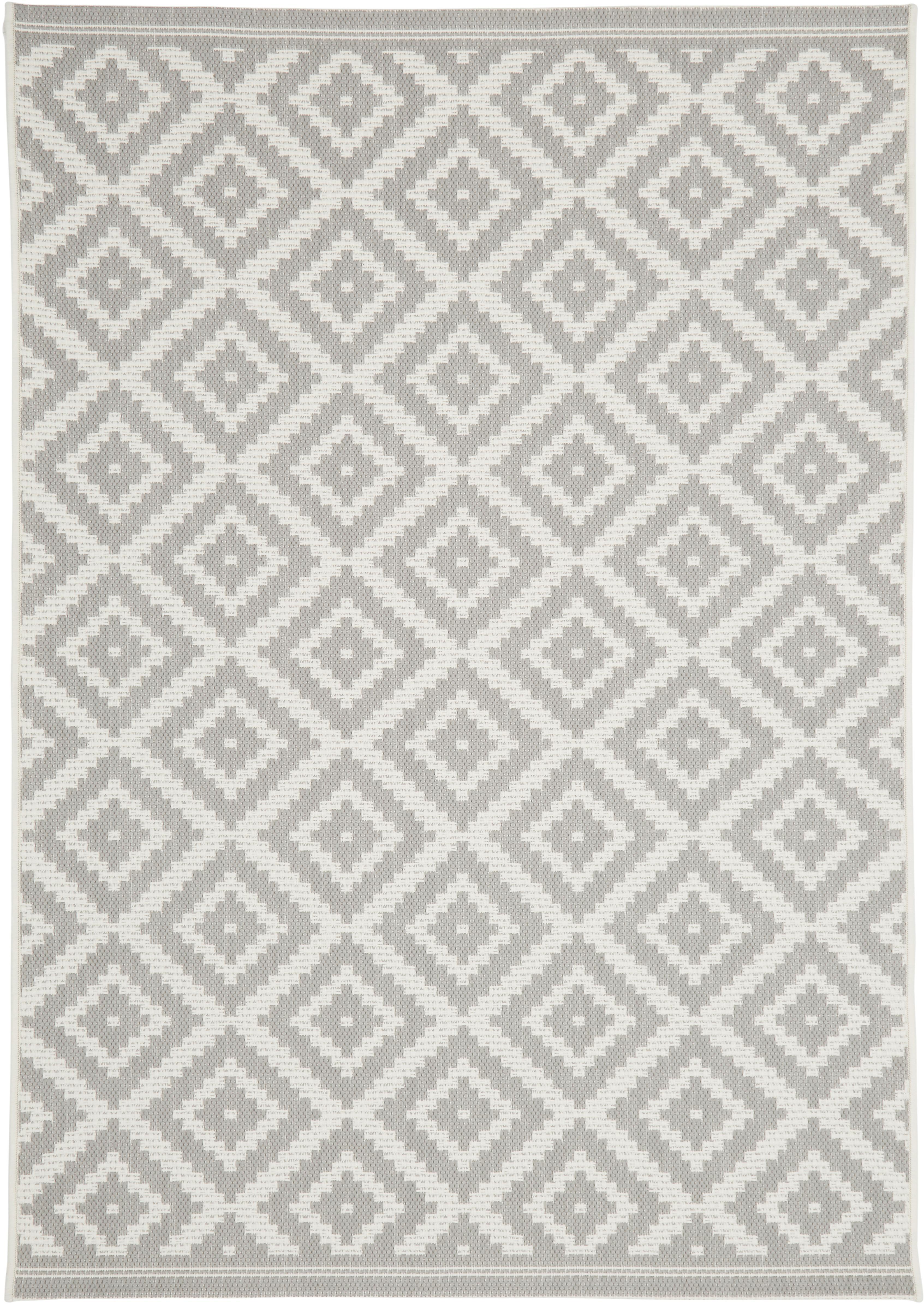 Tappeto da interno-esterno Miami, Retro: poliestere, Bianco crema, grigio, Larg. 120 x Lung. 170 cm (taglia s)