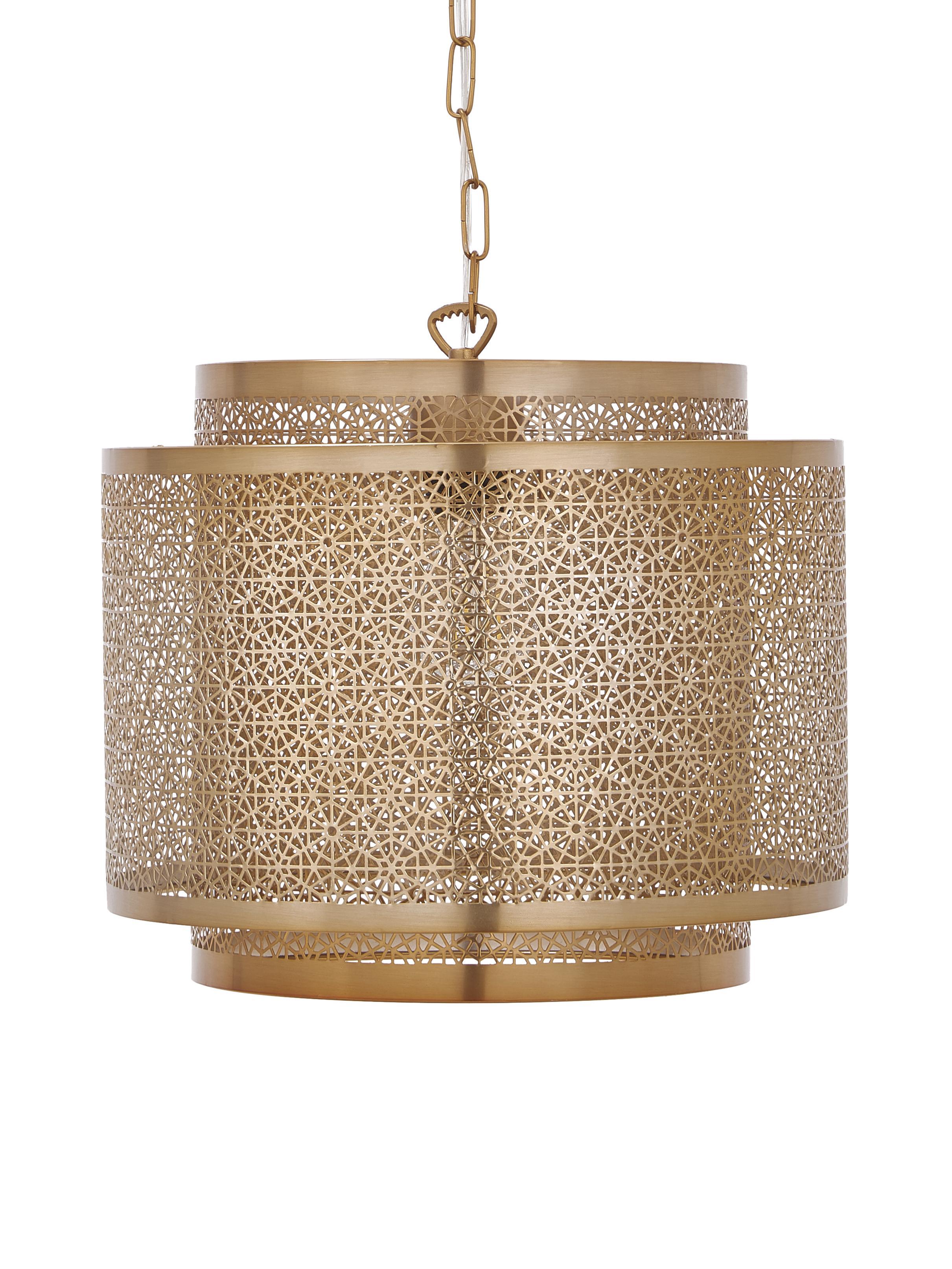 Lampa wisząca z mosiądzu Hermine, Mosiądz, Mosiądz, matowy, Ø 35 x W 28 cm