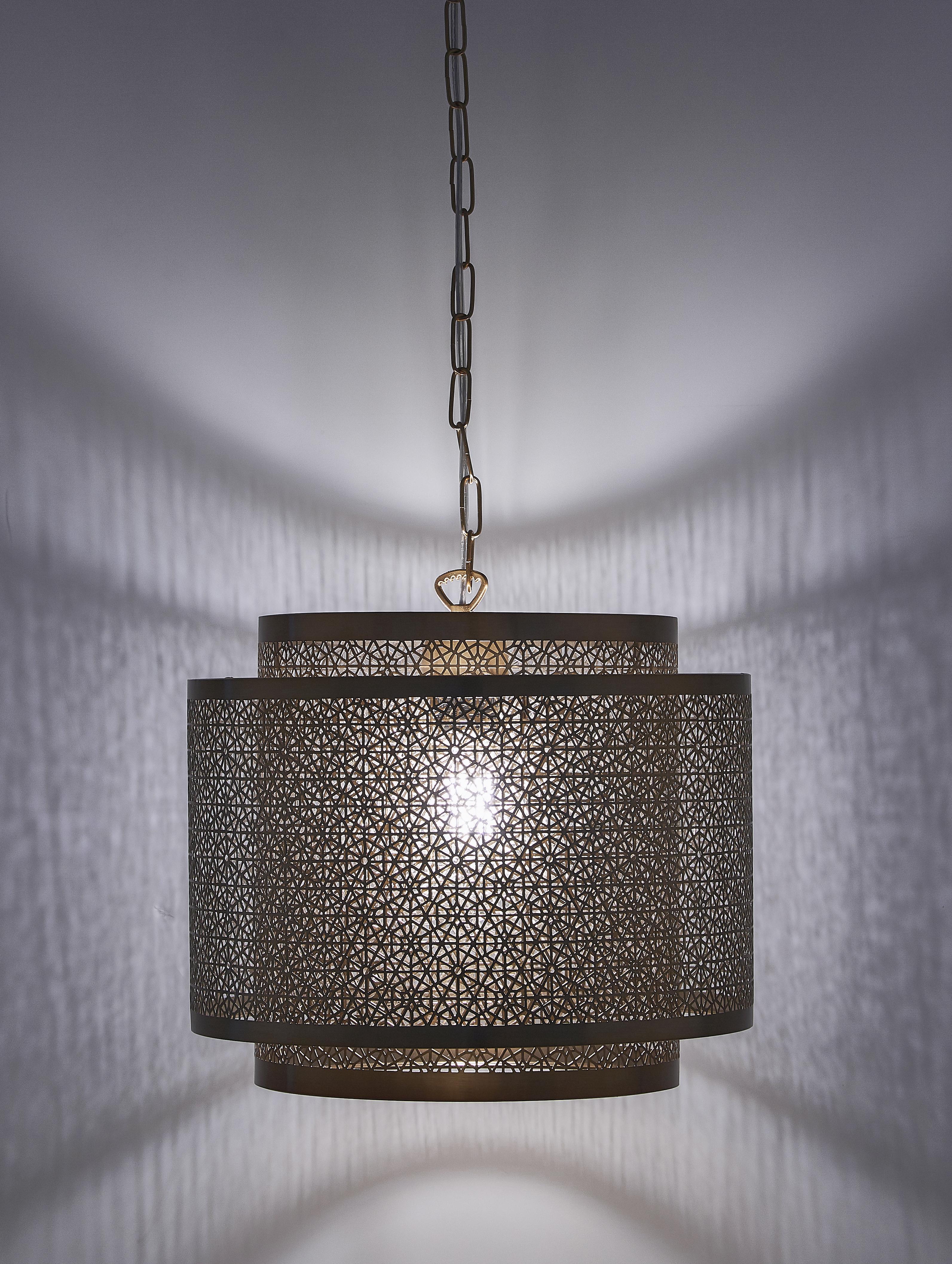 Boho-Pendelleuchte Hermine, Messing, Messing, matt, Ø 35 x H 28 cm