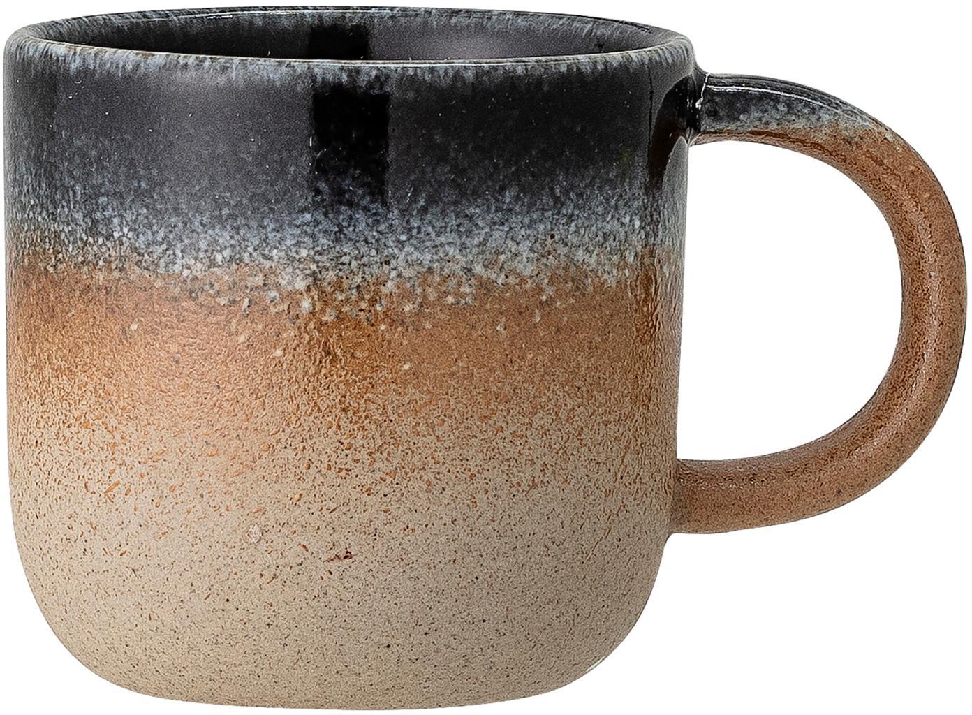 Taza artesanal Aura, Porcelana, Tonos beiges y azules, Ø 8 x Al 8 cm