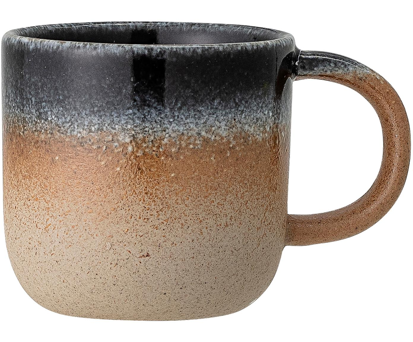 Ręcznie wykonany kubek Aura, Porcelana, Beżowy i odcienie niebieskiego, Ø 8 x W 8 cm