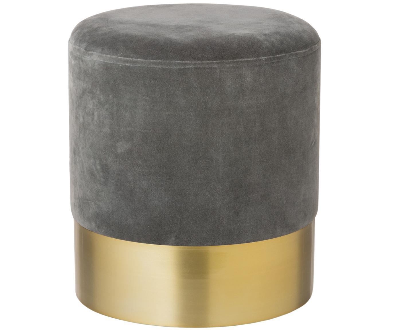 Samt-Hocker Harlow, Bezug: Baumwollsamt, Grau, Goldfarben, Ø 38 x H 42 cm