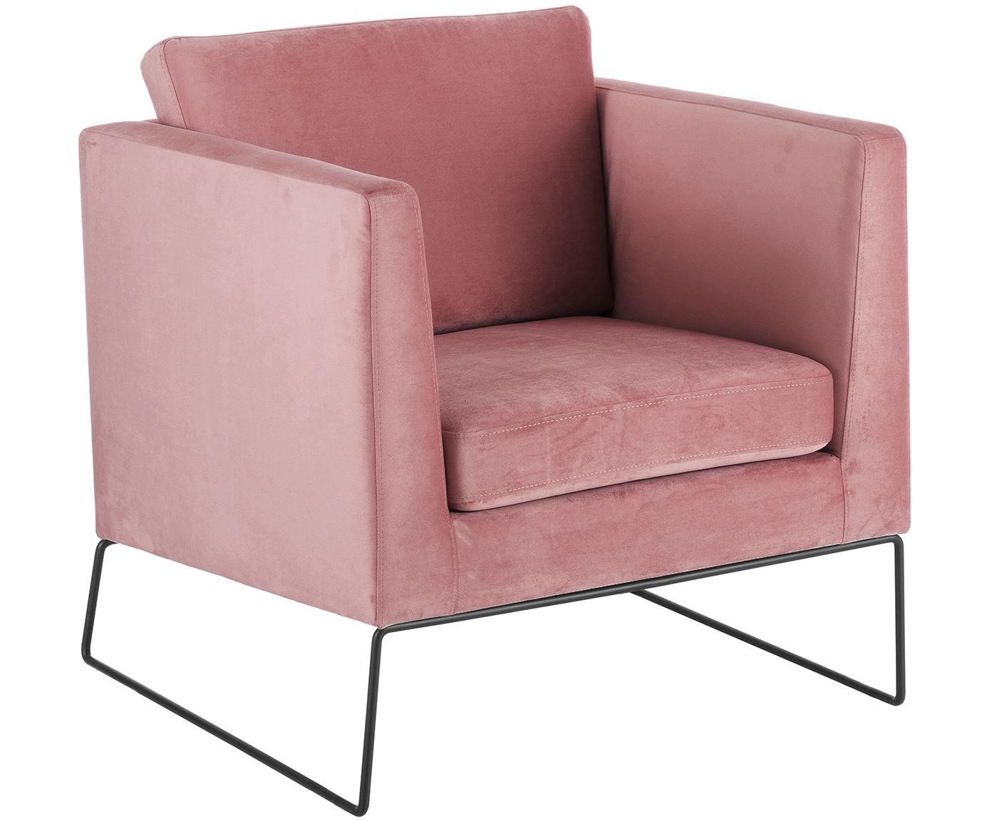 Klassischer Samt-Sessel Milo in Rosa, Bezug: Samt (hochwertiger Polyes, Gestell: Kiefernholz, Beine: Metall, lackiert, Samt Rosa, 77 x 75 cm