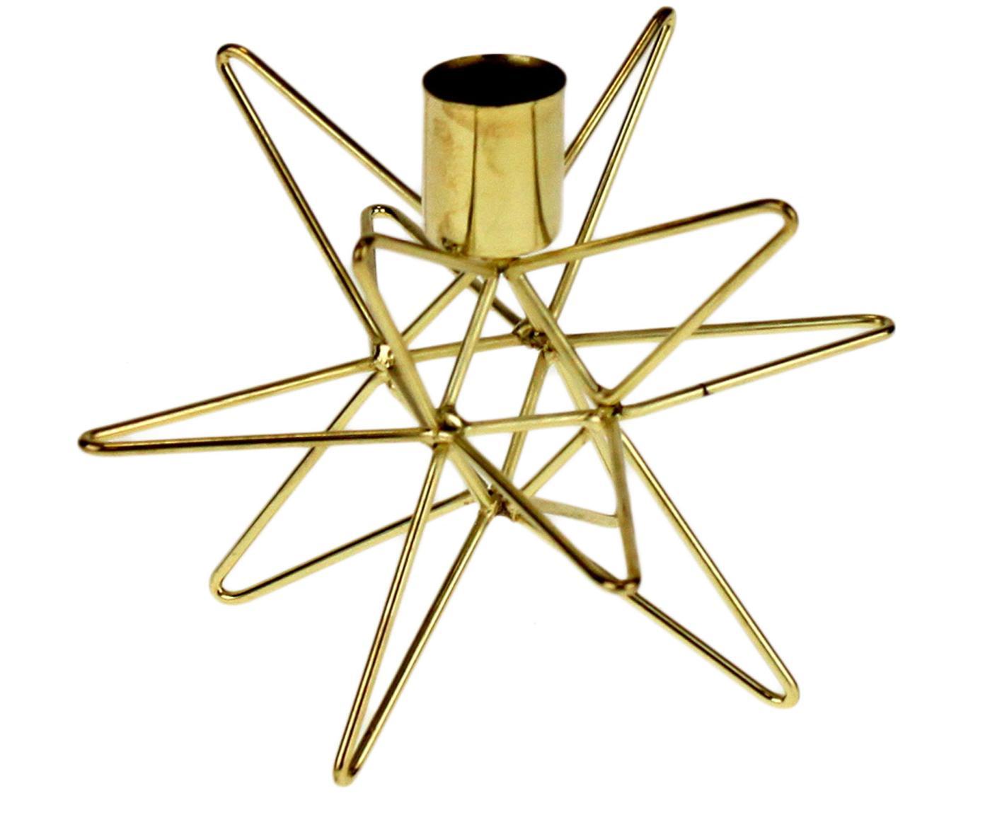 Portacandela dorato moderno Cosma, Metallo verniciato, Ottonato, Ø 15 x Alt. 11 cm