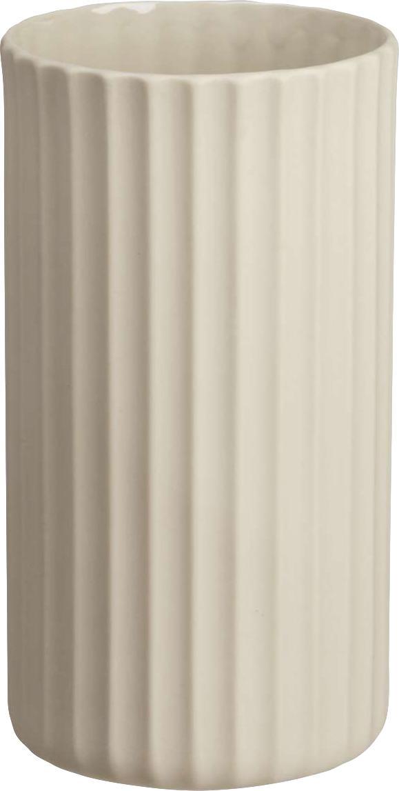 Handgefertigte Vase Yoko aus Porzellan, Porzellan, Beige, Ø 9 x H 16 cm