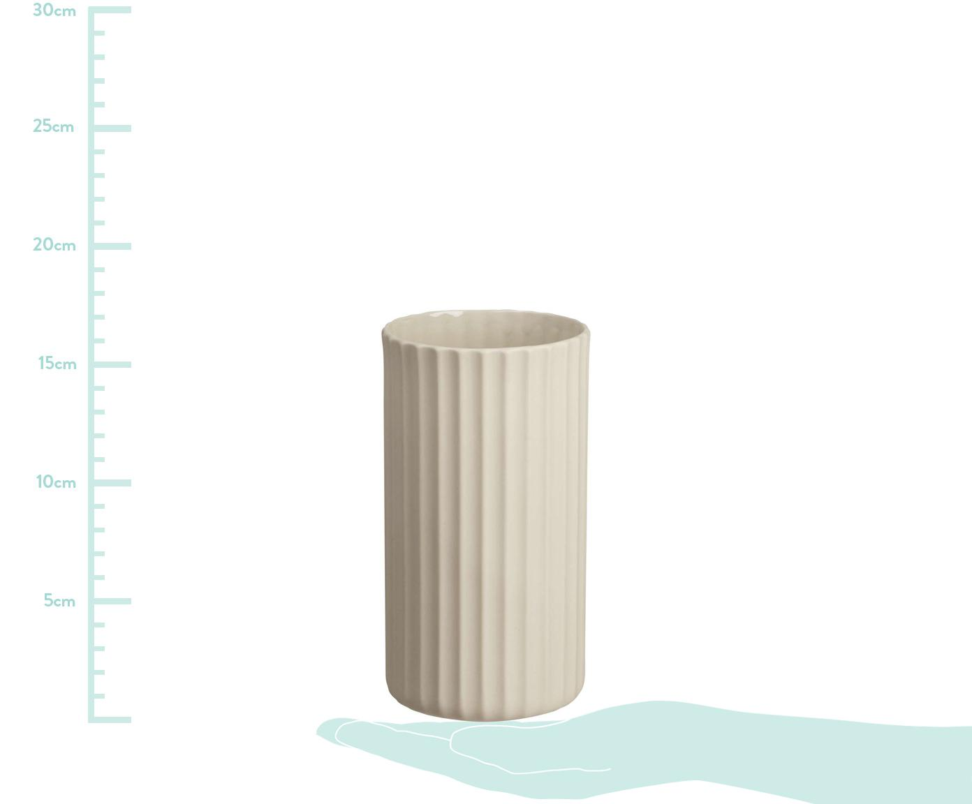 Handgefertigte Vase Yoko aus Porzellan, Porzellan, Beige, Ø 12 x H 24 cm