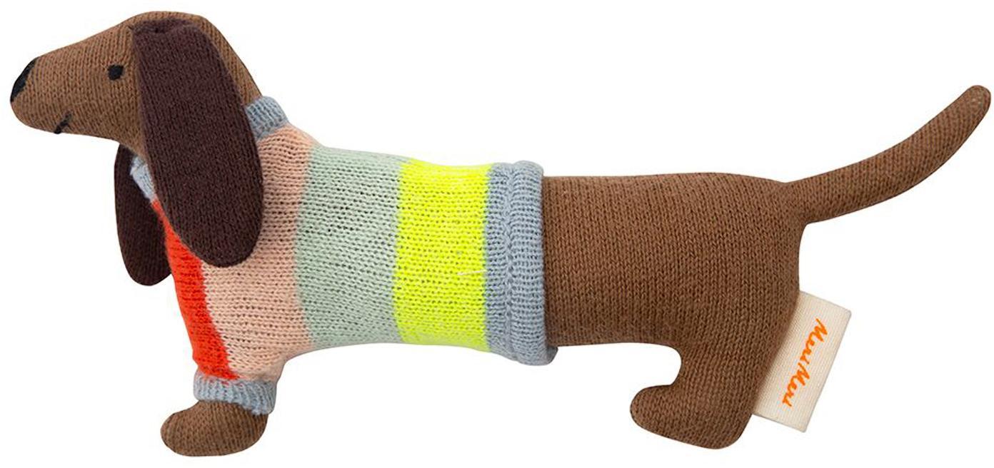 Rassel Dackel aus Bio-Baumwolle, Bio-Baumwolle, Braun, Mehrfarbig, 19 x 8 cm
