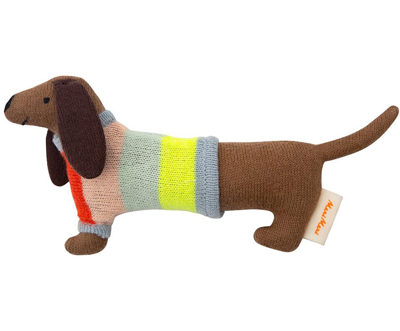 Grzechotka z bawełny organicznej Sausage Dog, Bawełna organiczna, Brązowy, wielobarwny, S 19 x W 8 cm