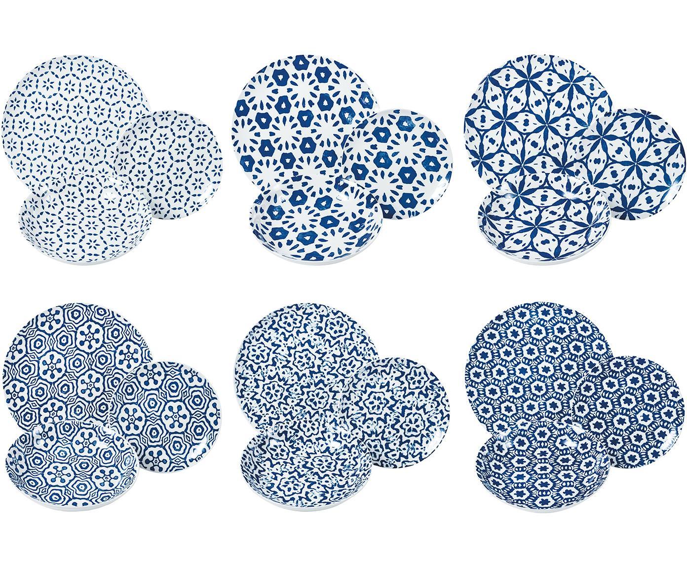 Serviesset Bodrum, 18-delig, Porselein, Blauw, wit, Verschillende formaten
