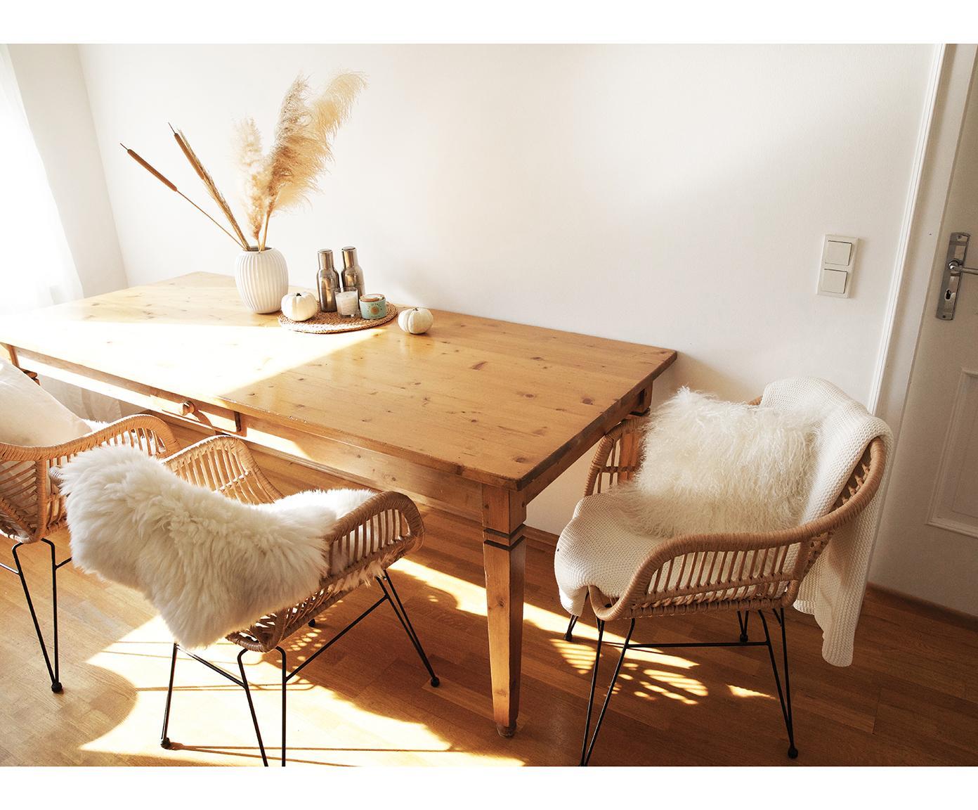 Krzesło z podłokietnikami z polirattanu Costa, 2 szt., Stelaż: metal malowany proszkowo, Jasny brązowy, nogi: czarny, S 60 x G 58 cm