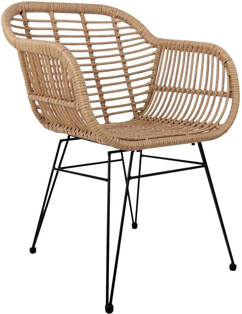 Sedia con braccioli Costa 2 pz, Seduta: intreccio polietilene, Struttura: metallo verniciato a polv, Marrone chiaro, gambe nero, Larg. 60 x Prof. 58 cm