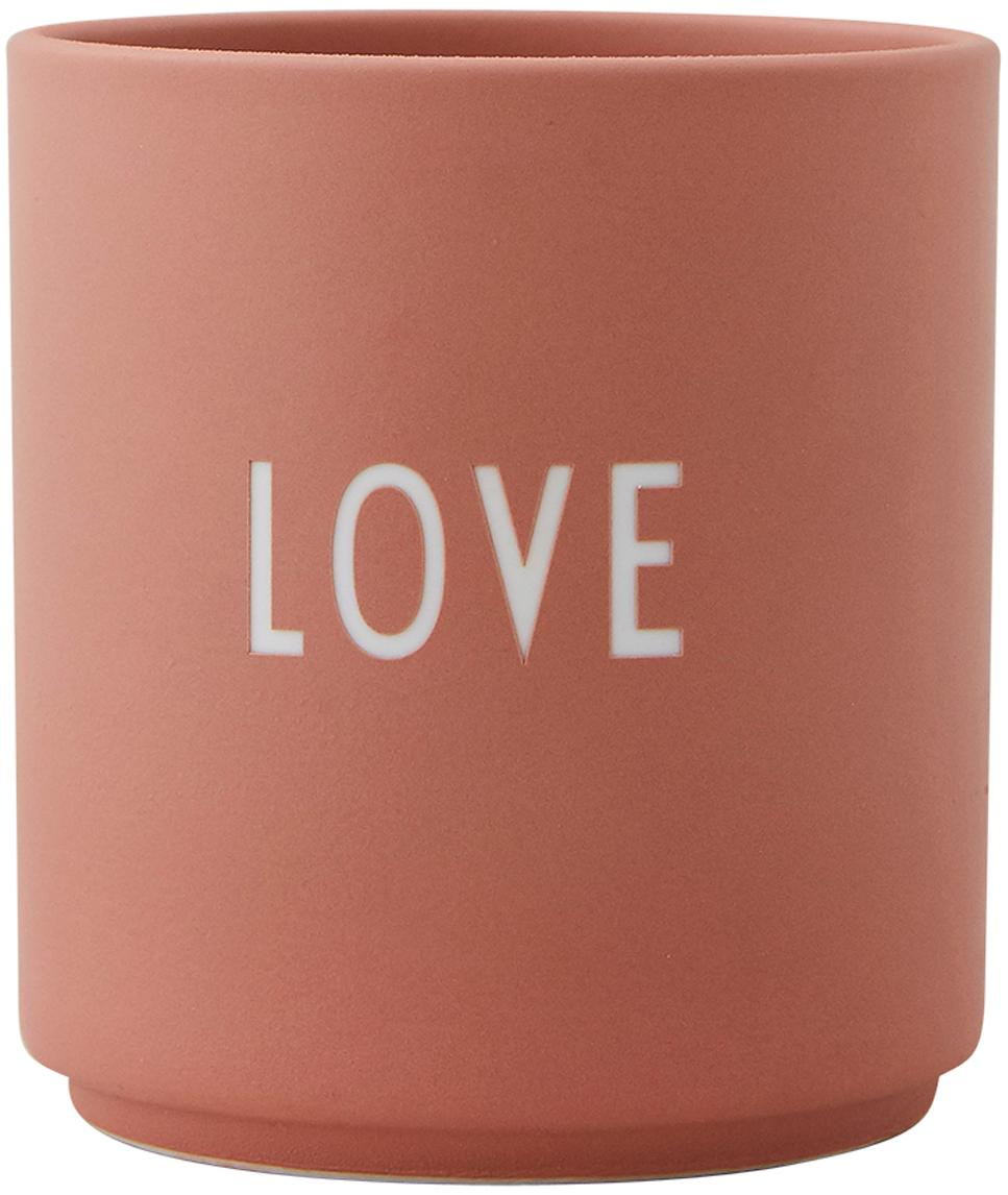 Design Becher Favourite LOVE in Terrakotta mit Schriftzug, Fine Bone China (Porzellan), Rosa, Weiss, Ø 8 x H 9 cm