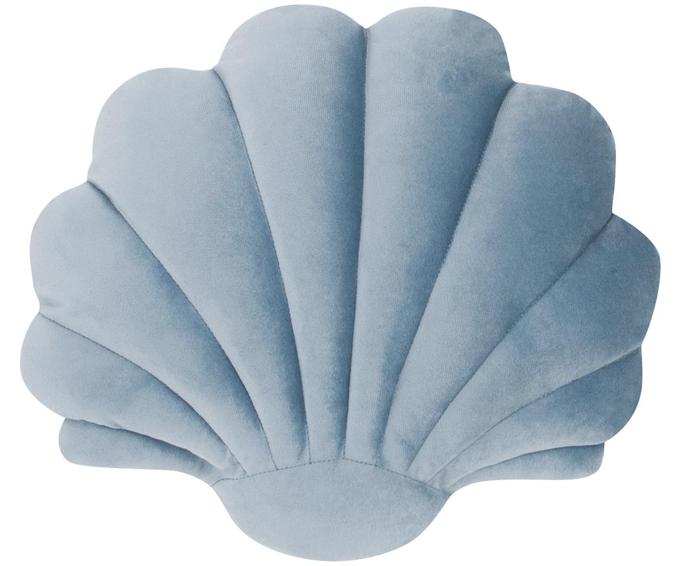 Cojín Shell, Parte delantera: 100%terciopelo de algodó, Parte trasera: 100%algodón, Azul claro, An 28 x L 30 cm