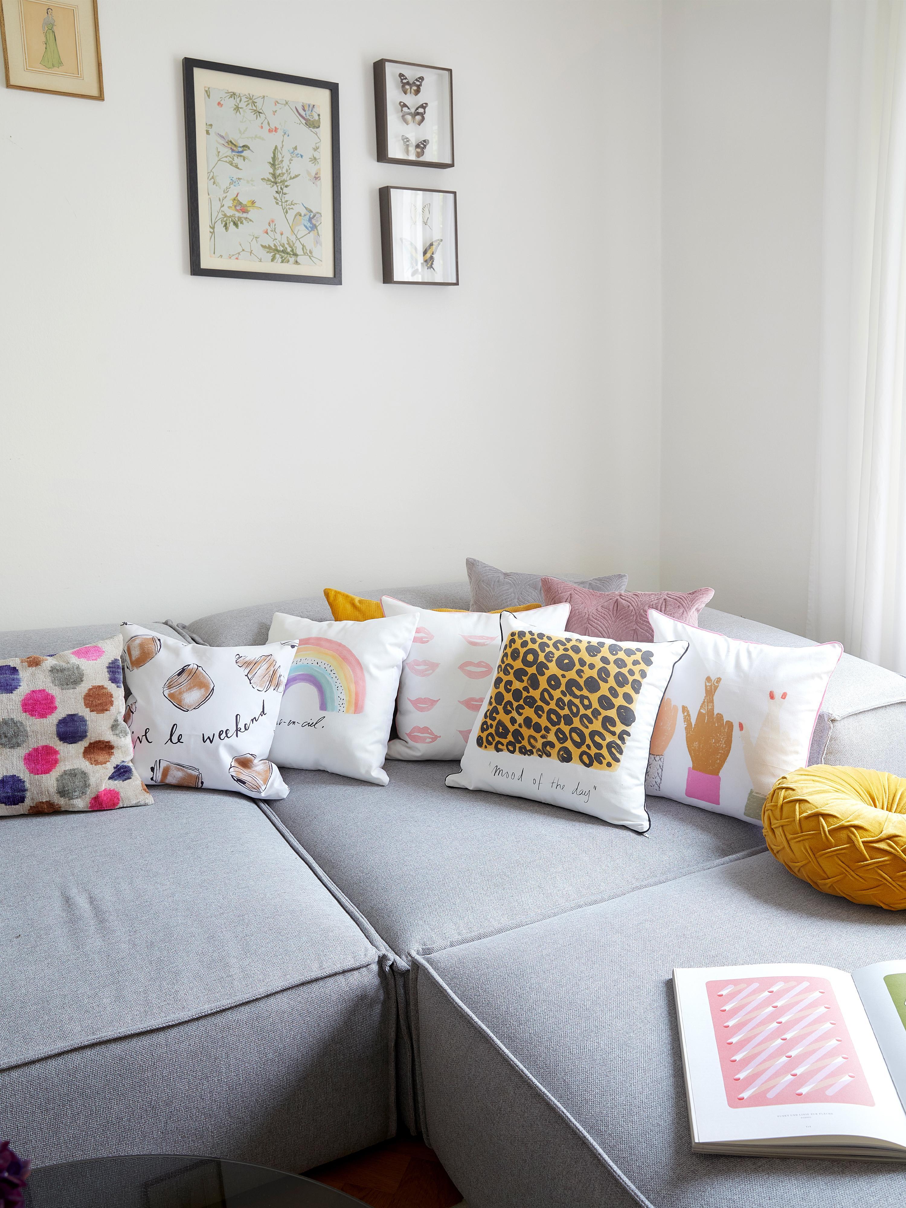 Designer Kissenhülle Sketchy von Kera Till, 100% Baumwolle, Weiß, Rot, 40 x 40 cm