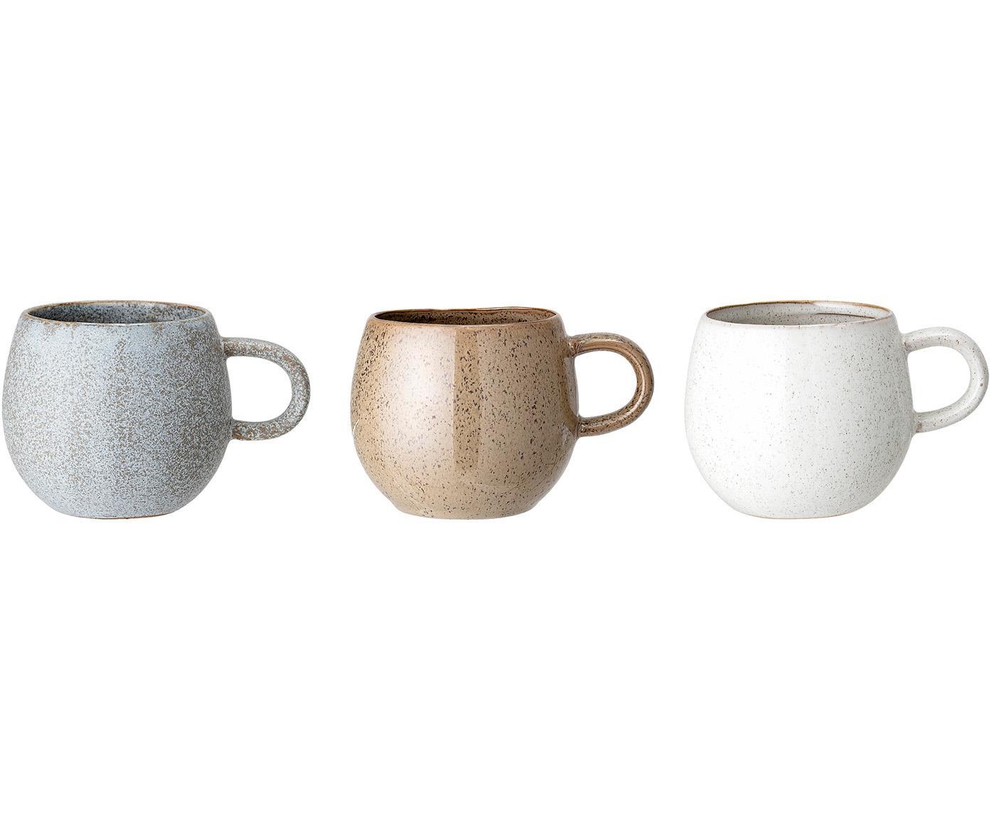 Set de tazas de té artesanales Addison, 3uds., Gres, Gris, beige, blanco, Ø 11 x Al 10 cm