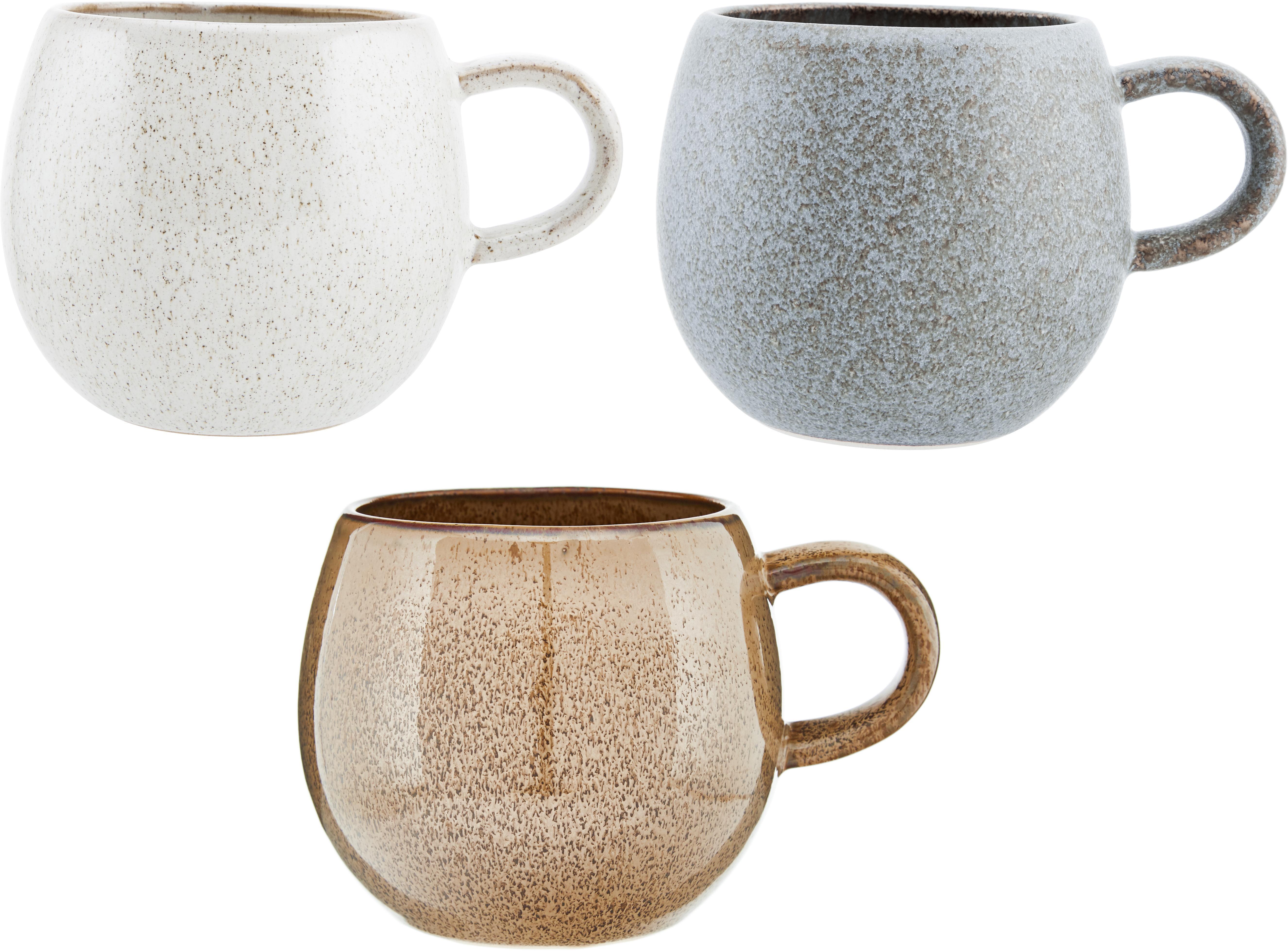 Ręcznie wykonany komplet kubków do herbaty Addison, 3 elem., Kamionka, Szary, beżowy, biały, Ø 11 x W 10 cm