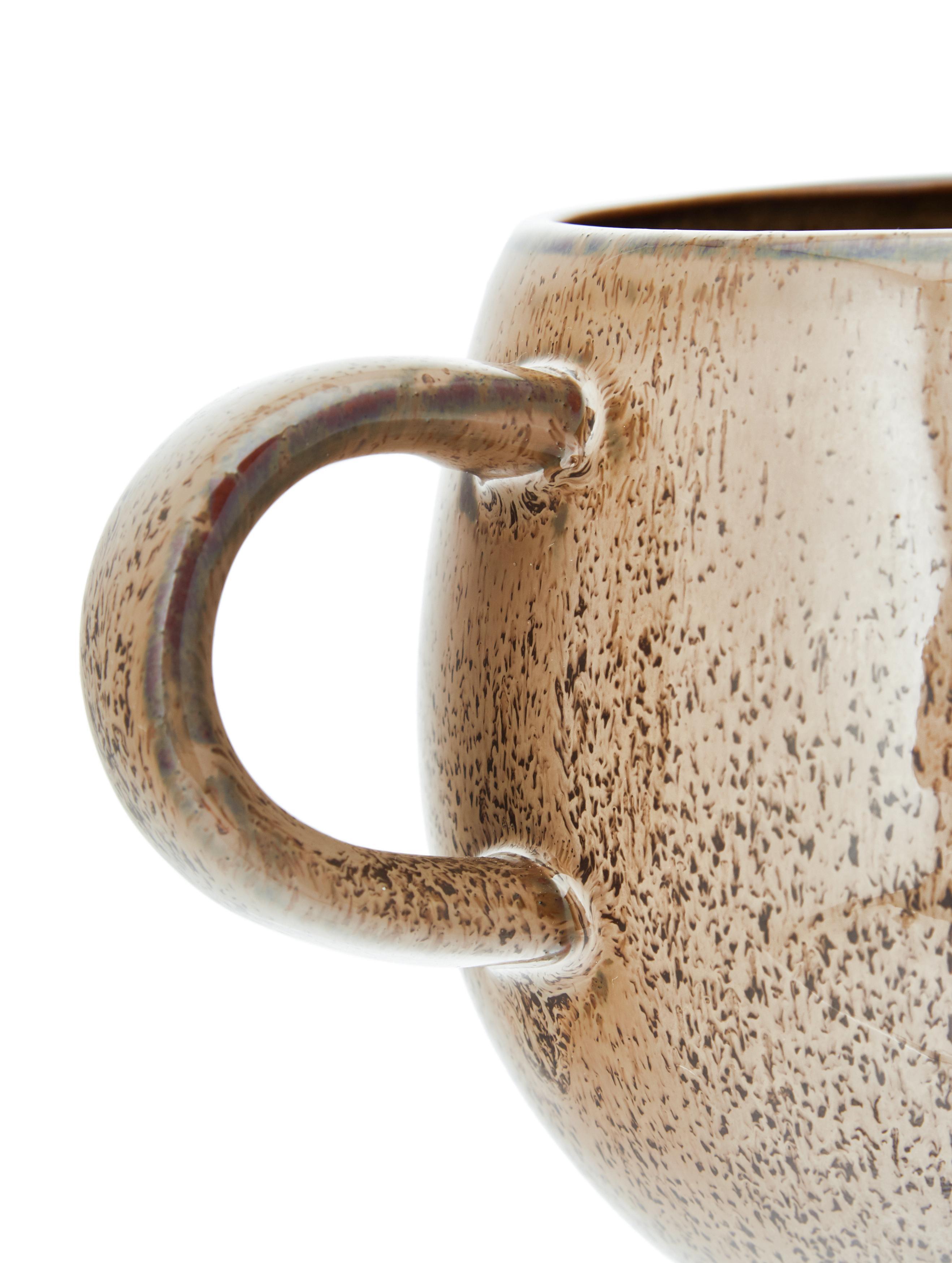 Handgemaakte theekopjesset Addison, 3-delig, Keramiek, Grijs, beige, wit, Ø 11 x H 10 cm