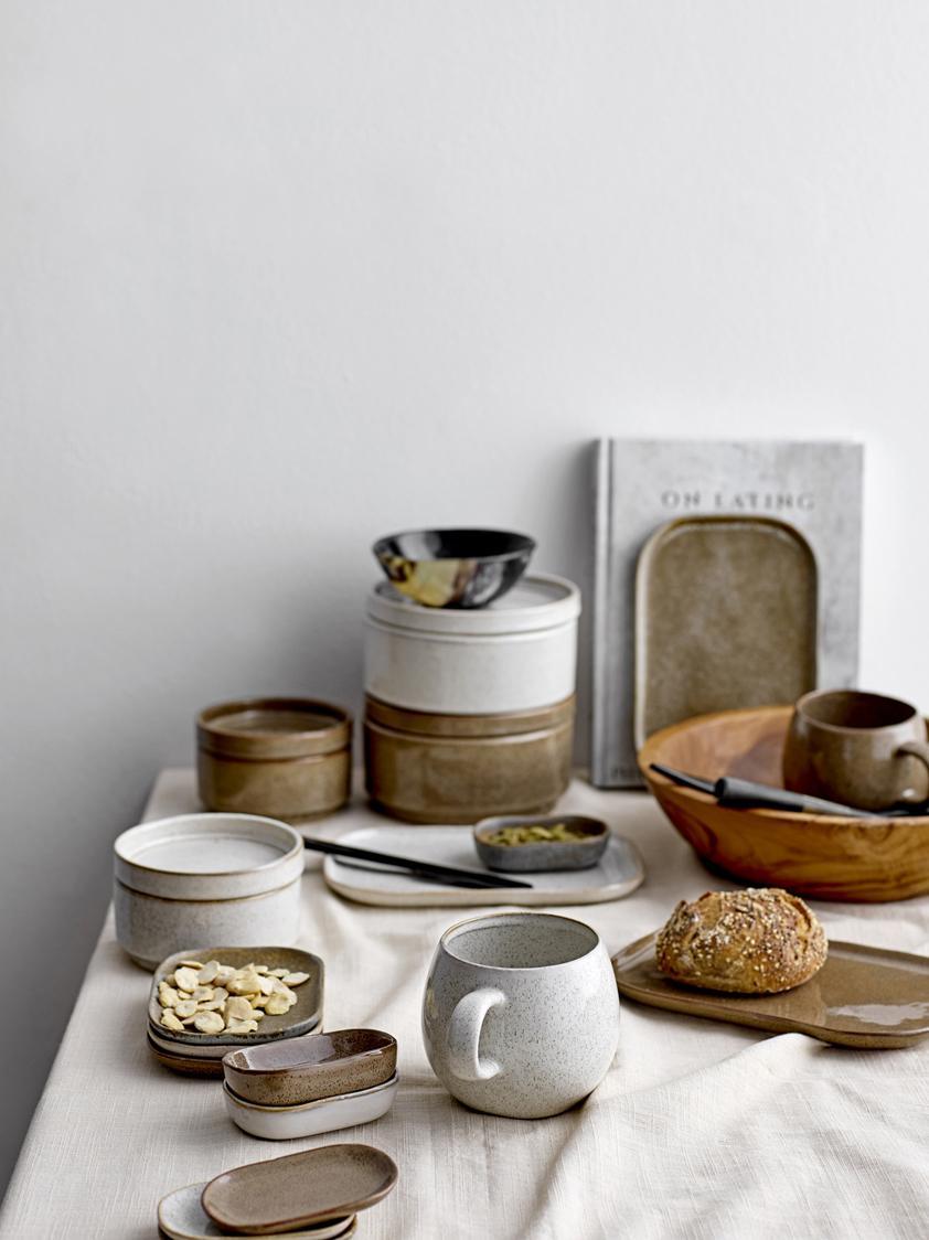 Ensemble de tasses à thé faites main Addison, 3élém., Gris, beige, blanc
