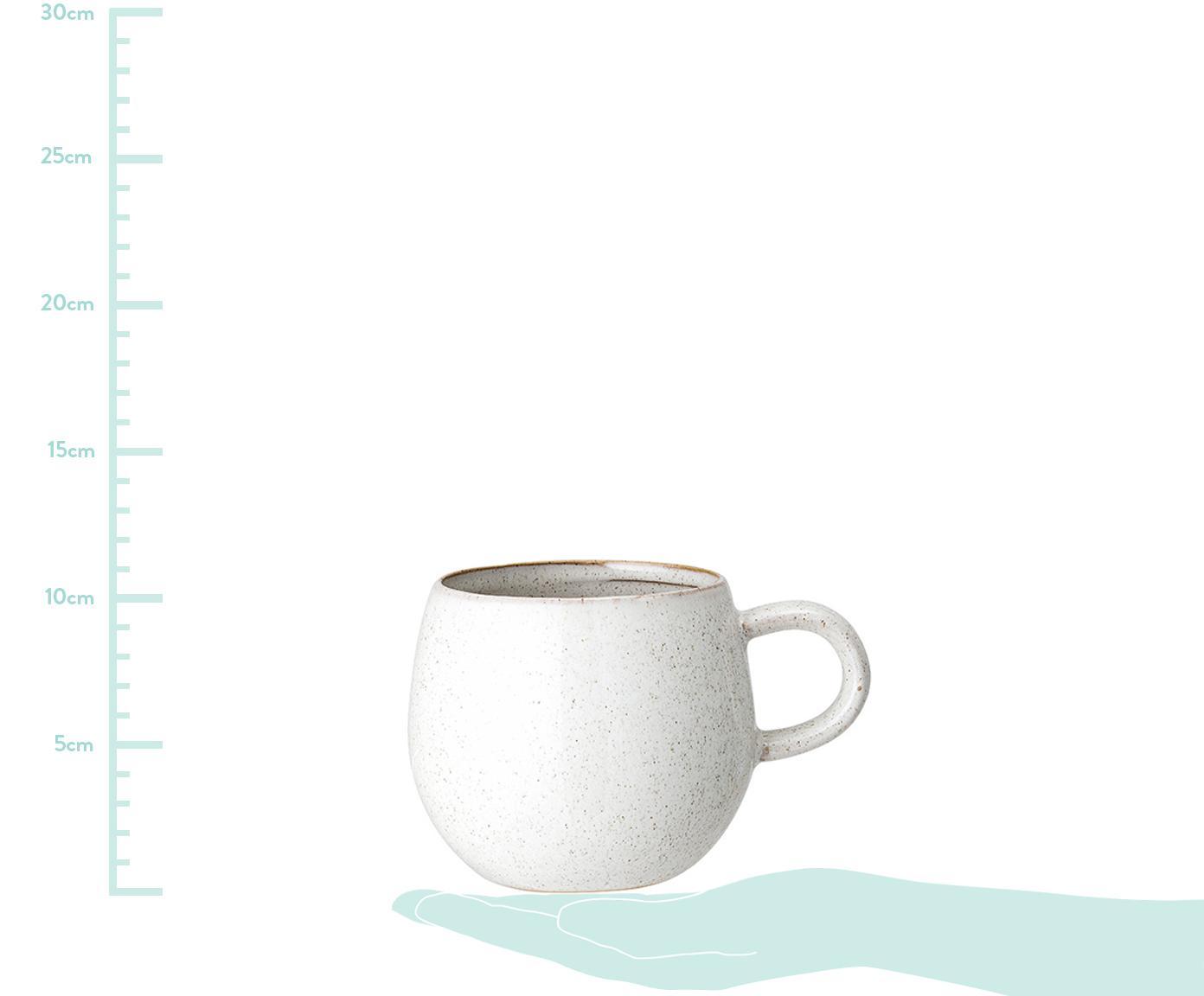 Handgefertigtes Teetassen-Set Addison, 3-tlg., Steingut, Grau, Beige, Weiss, Ø 11 x H 10 cm