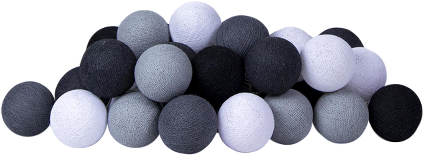 LED Lichterkette Colorain, Lampions: Polyester, Schwarz, Grautöne, Weiss, L 264 cm