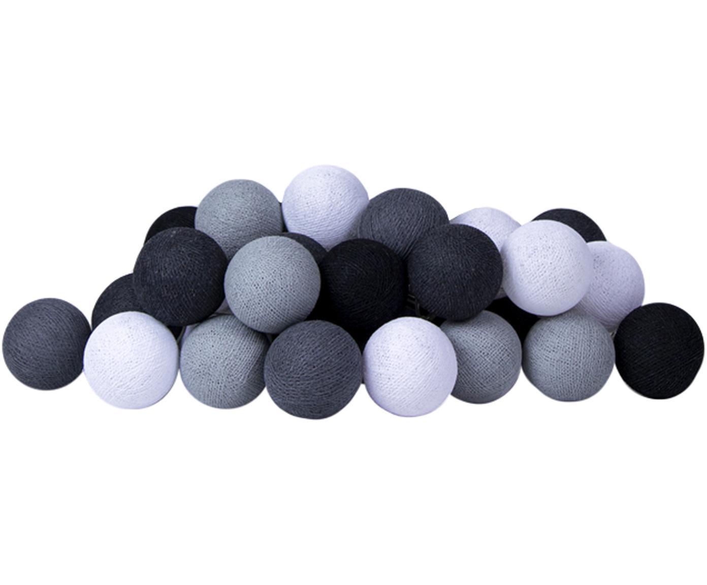 LED Lichterkette Colorain, Lampions: Polyester, Schwarz, Grautöne, Weiß, L 264 cm