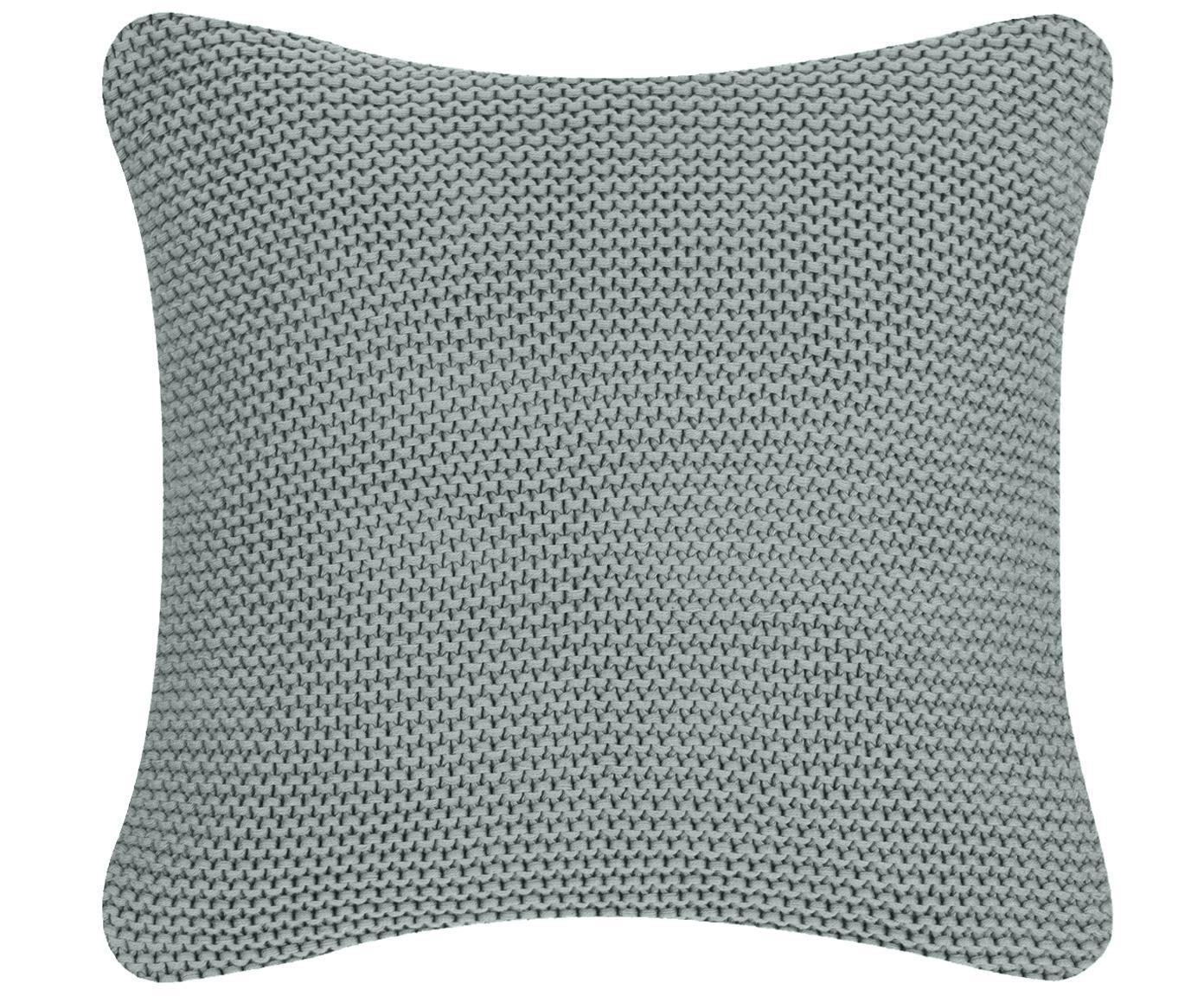 Federa arredo fatta a maglia Adalyn, 100% cotone, Verde salvia, Larg. 40 x Lung. 40 cm