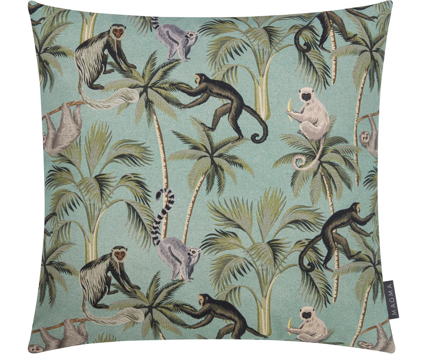 Dubbelzijdige kussenhoes Backwoods met tropische print, 85% katoen, 15% linnen, Groen, bruin, beige, 50 x 50 cm