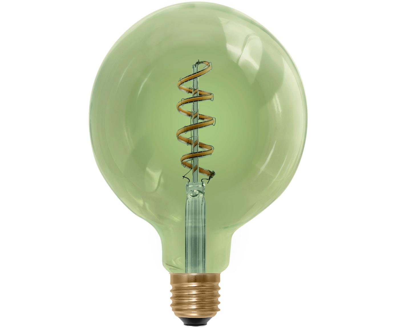 Duża żarówka LED Curved (E27/8 W), Szkło, aluminium, Zielony, Ø 13 x W 18 cm