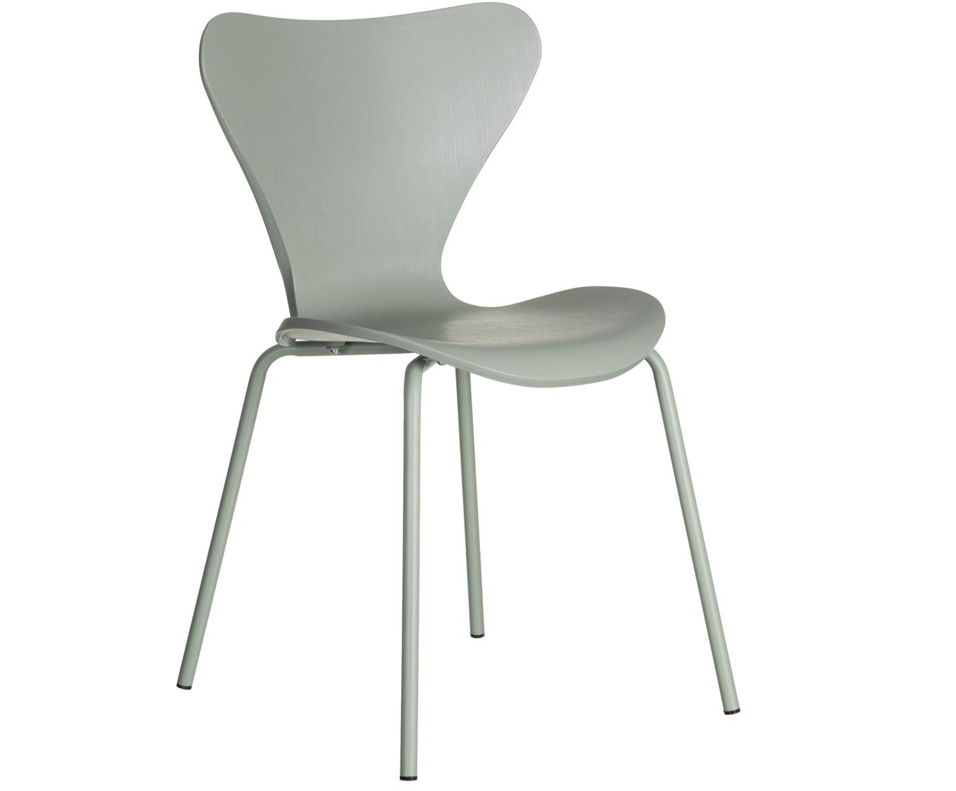 Stapelbare Kunststoffstühle Pippi, 2 Stück, Sitzfläche: Polypropylen, Beine: Metall, beschichtet, Minze, B 47 x T 50 cm