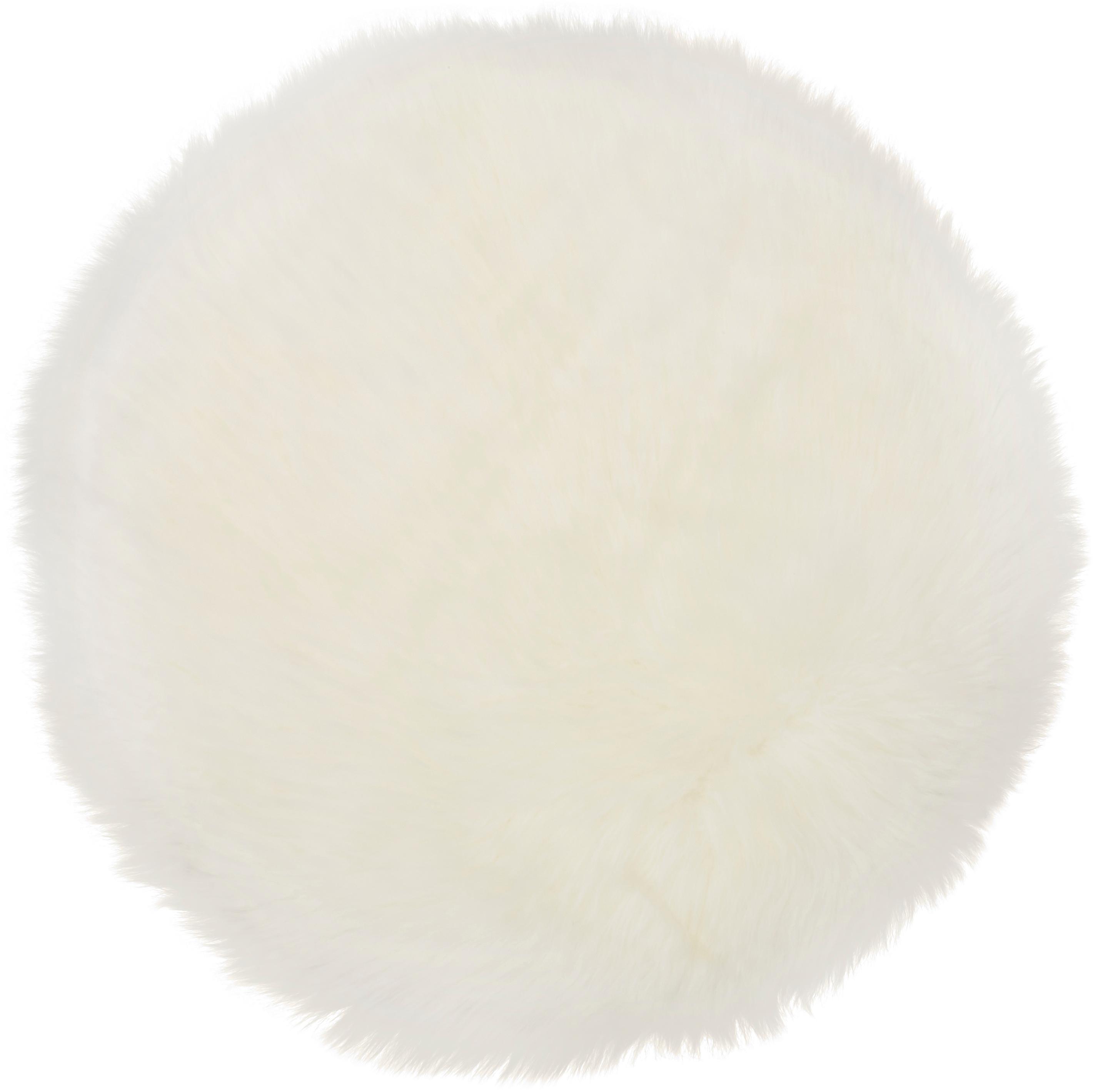 Zitkussen van schapenvacht Oslo, glad, Bovenzijde: 100% schapenvacht, Onderzijde: 100% leer, chroomvrij gel, Crèmewit, Ø 37 cm