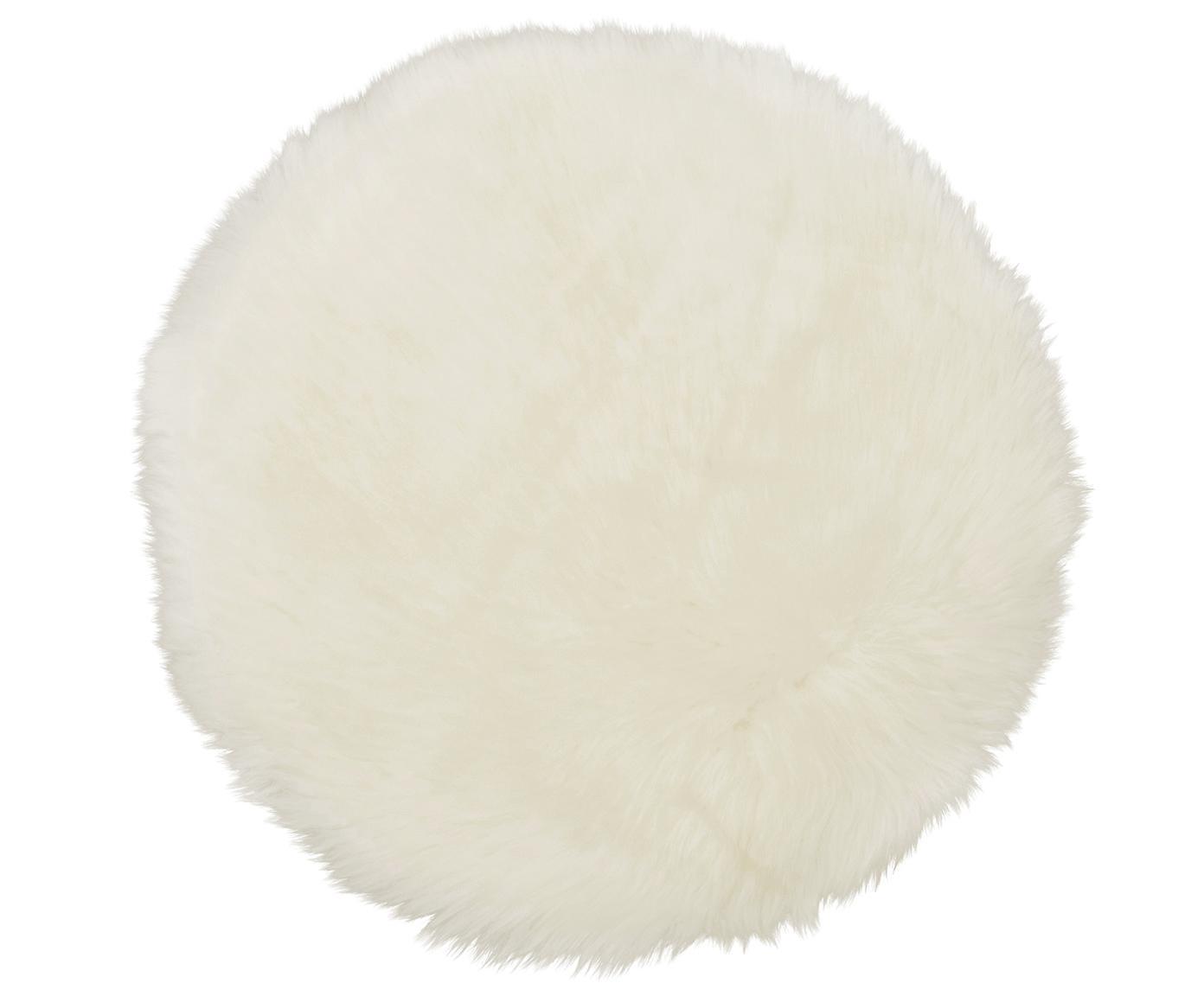 Cojín de asiento de oveja Oslo, Parte delantera: 100%piel de oveja, Parte trasera: 100%cuero cuertido, Marfil, Ø 37 cm