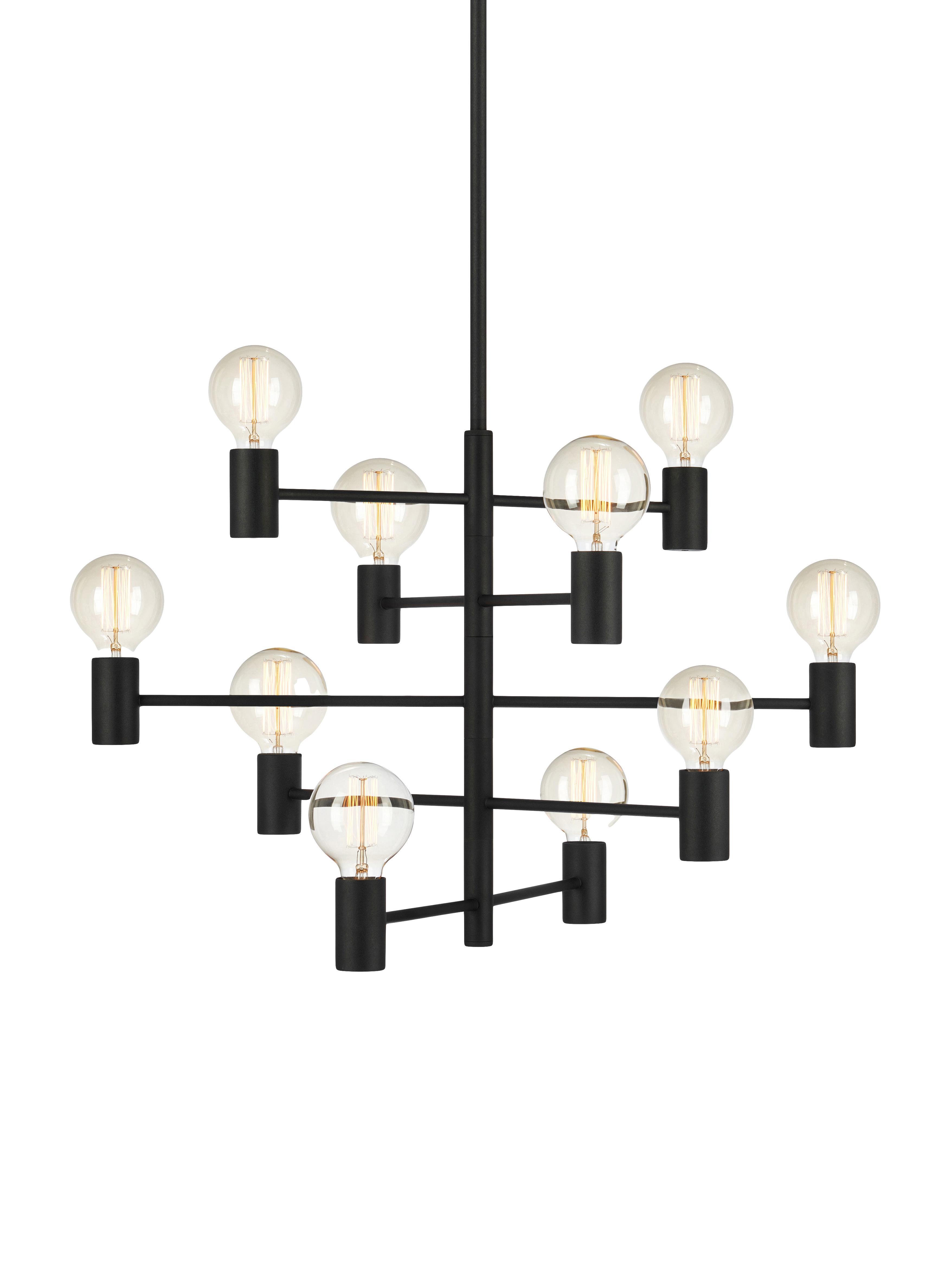 Lampada a sospensione regolabile Paris, Ottone verniciato, Lampada: nero Cavo: trasparente, Ø 80 x Alt. 49 cm